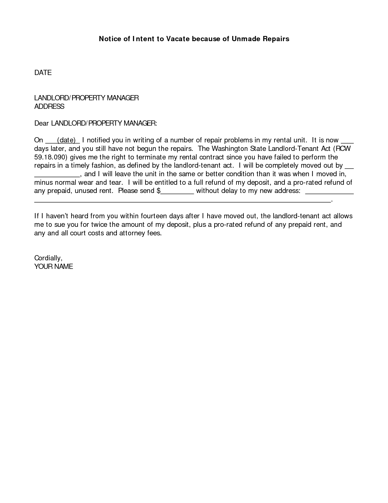 Notice Of Intent to Vacate Letter Template - Best S Vacating Apartment Letterndlord Notice to Tenant