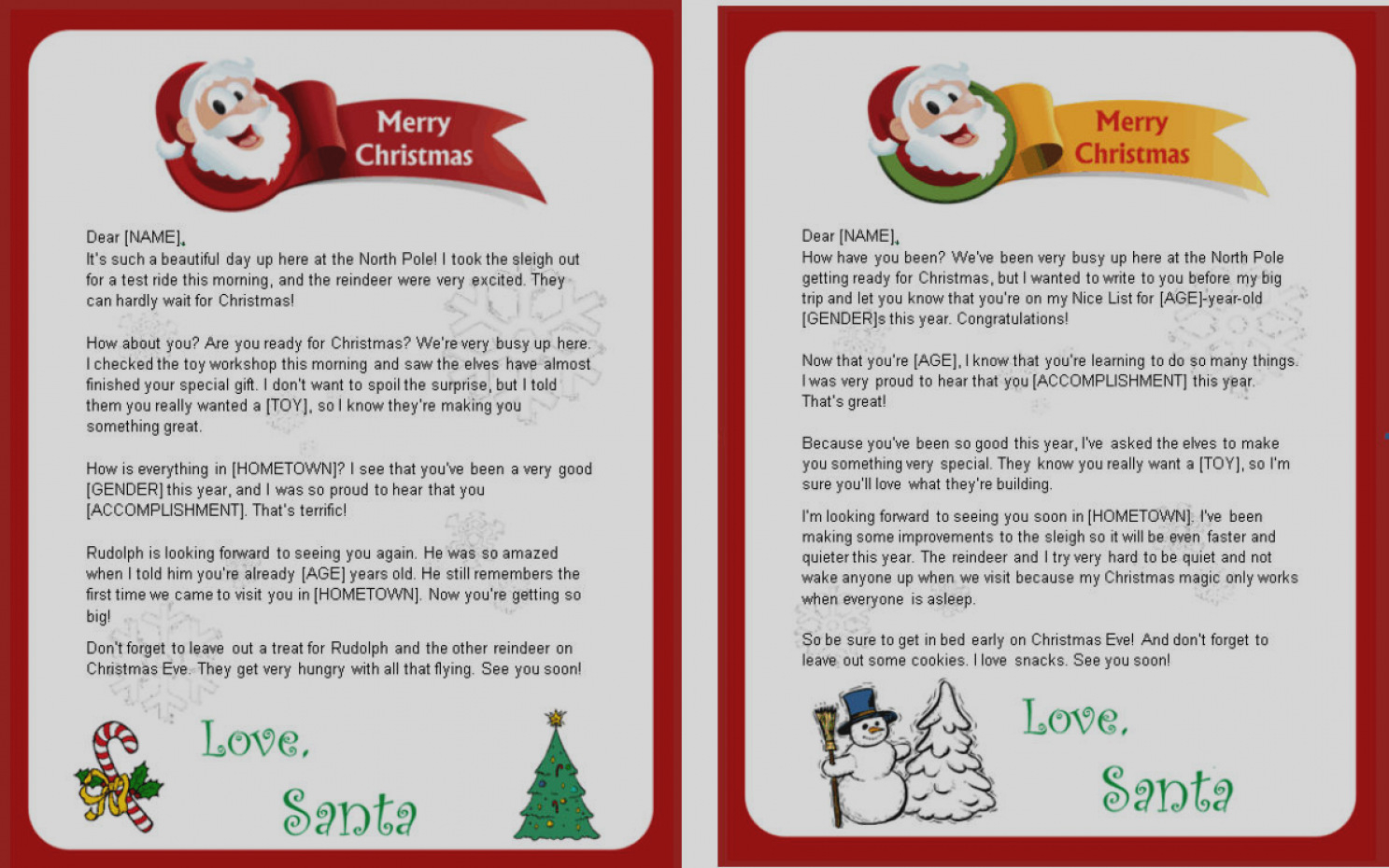 Letter From Santa Template Free Download - Blank Letters From Santa Templates Free Letter Template