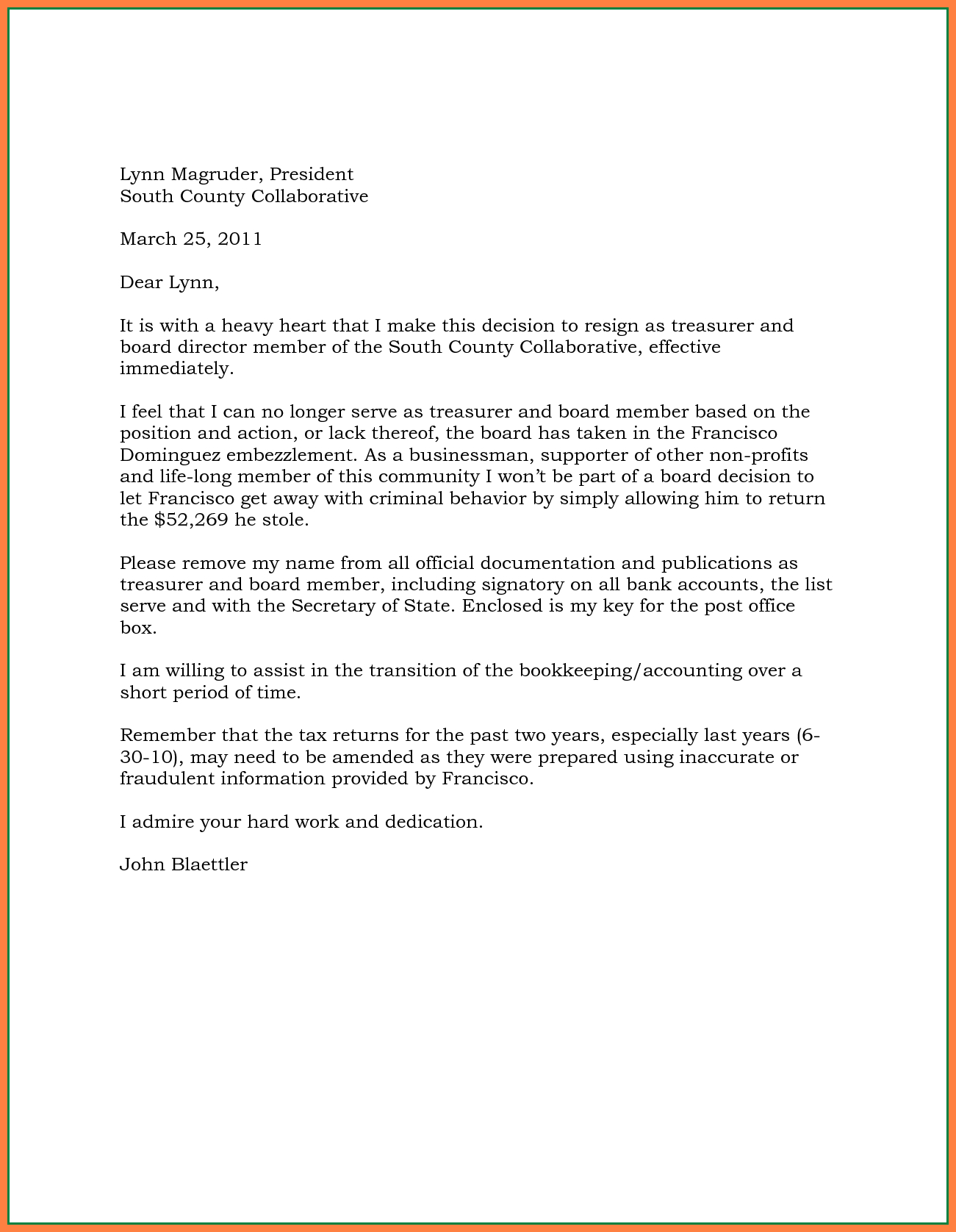 Board Member Removal Letter Template - Board Member Resignation Letter Template Acurnamedia