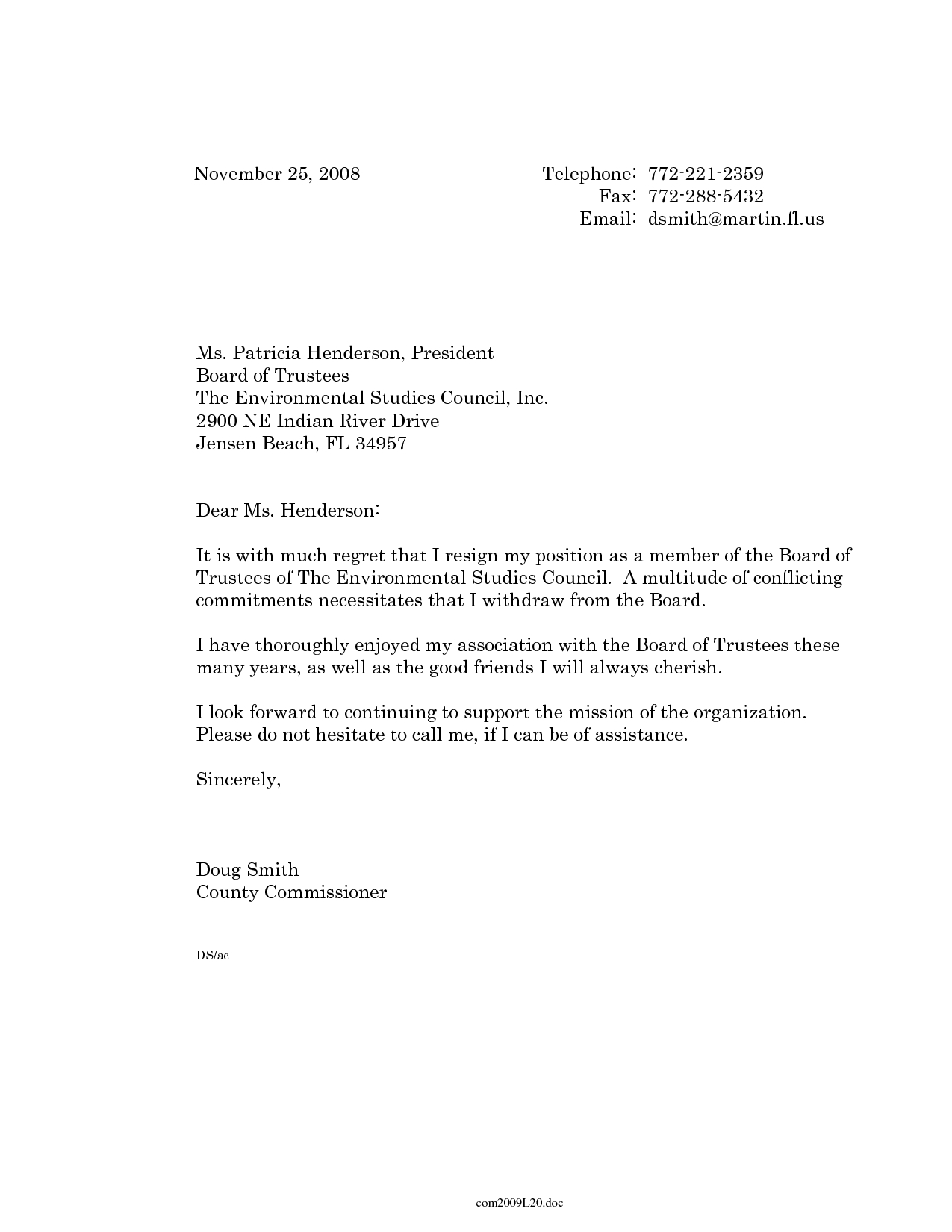 trustee resignation letter template ses resume examples example of a