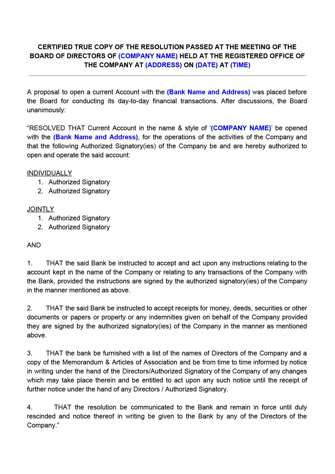 Template for Trust Distribution Letter Of Instructions - Board Resolution for Opening Bank Account Indiafilings Document