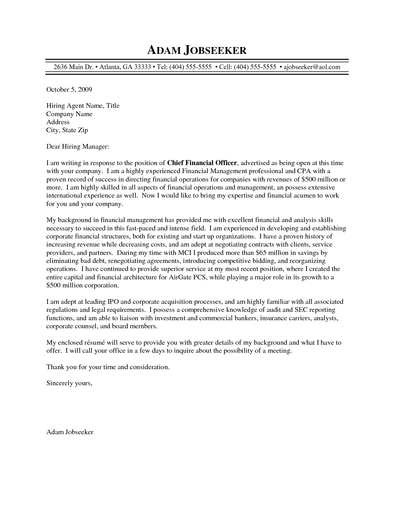 Cfo Cover Letter Template - Bunch Ideas Chief Financial Ficer Letter Re Mendation About
