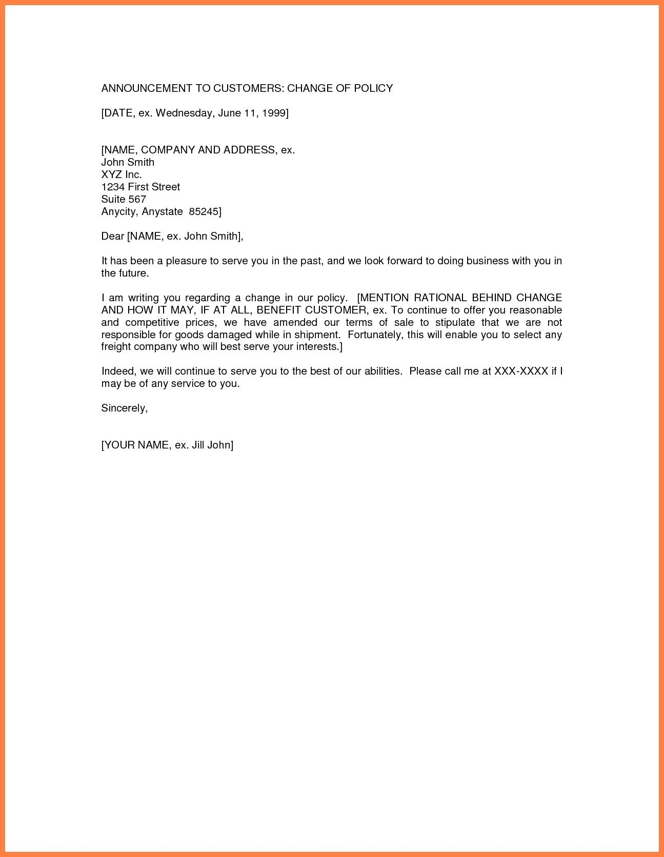 Transfer Of Ownership Letter Template - Business Change Address Letter Template Choice Image Reference