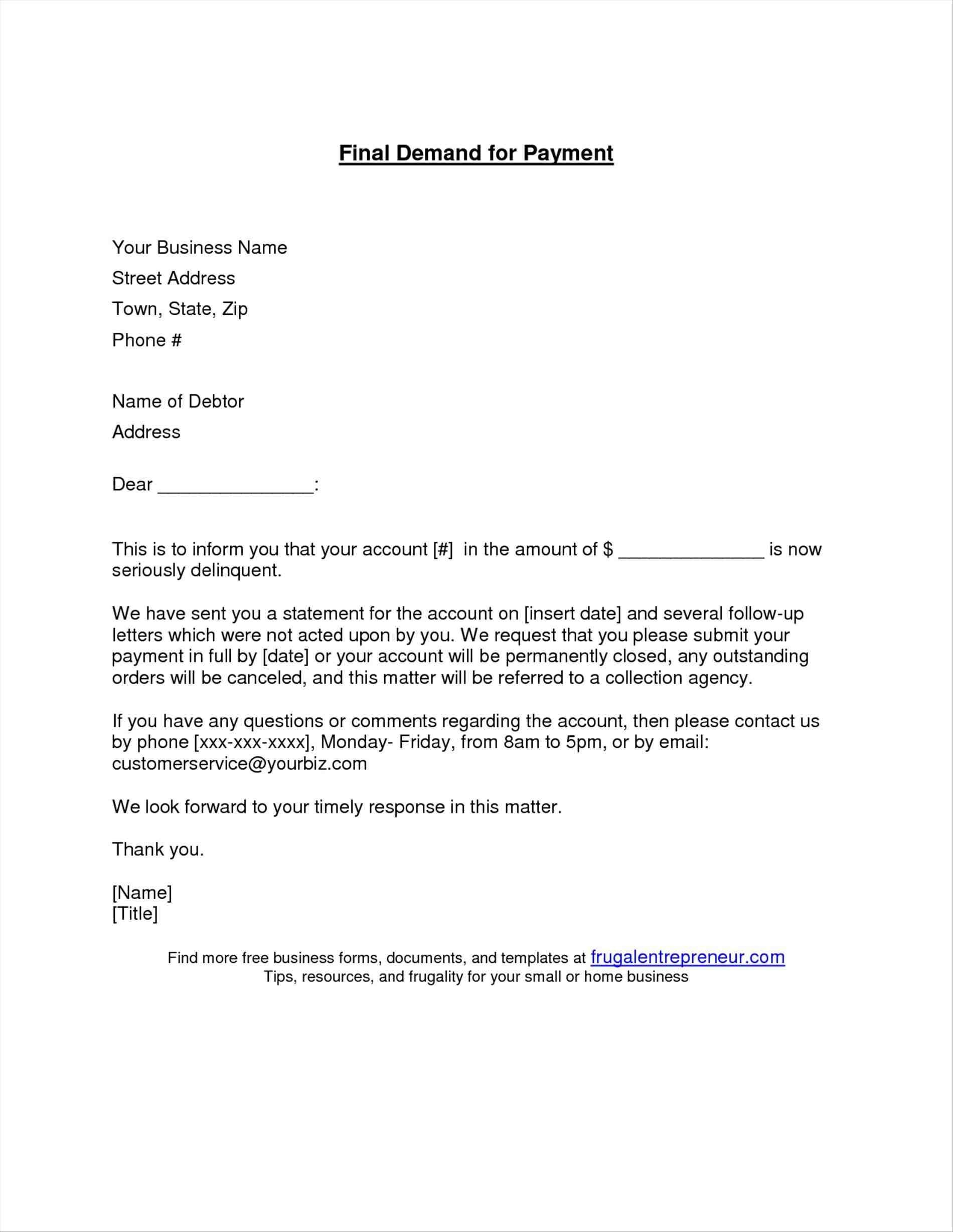 Demand for Payment Letter Template - Business Letter Template Request Payment Outstanding format Best Of