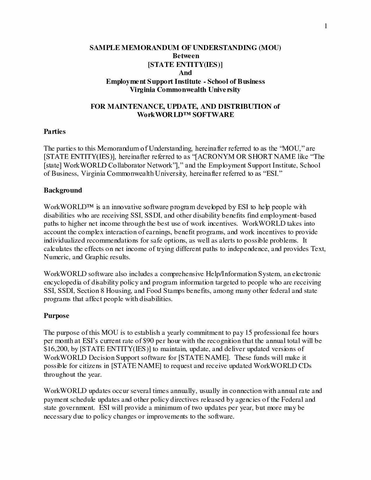 Letter Of Understanding Template Word - Business Partnership Separation Agreement Template Beautiful
