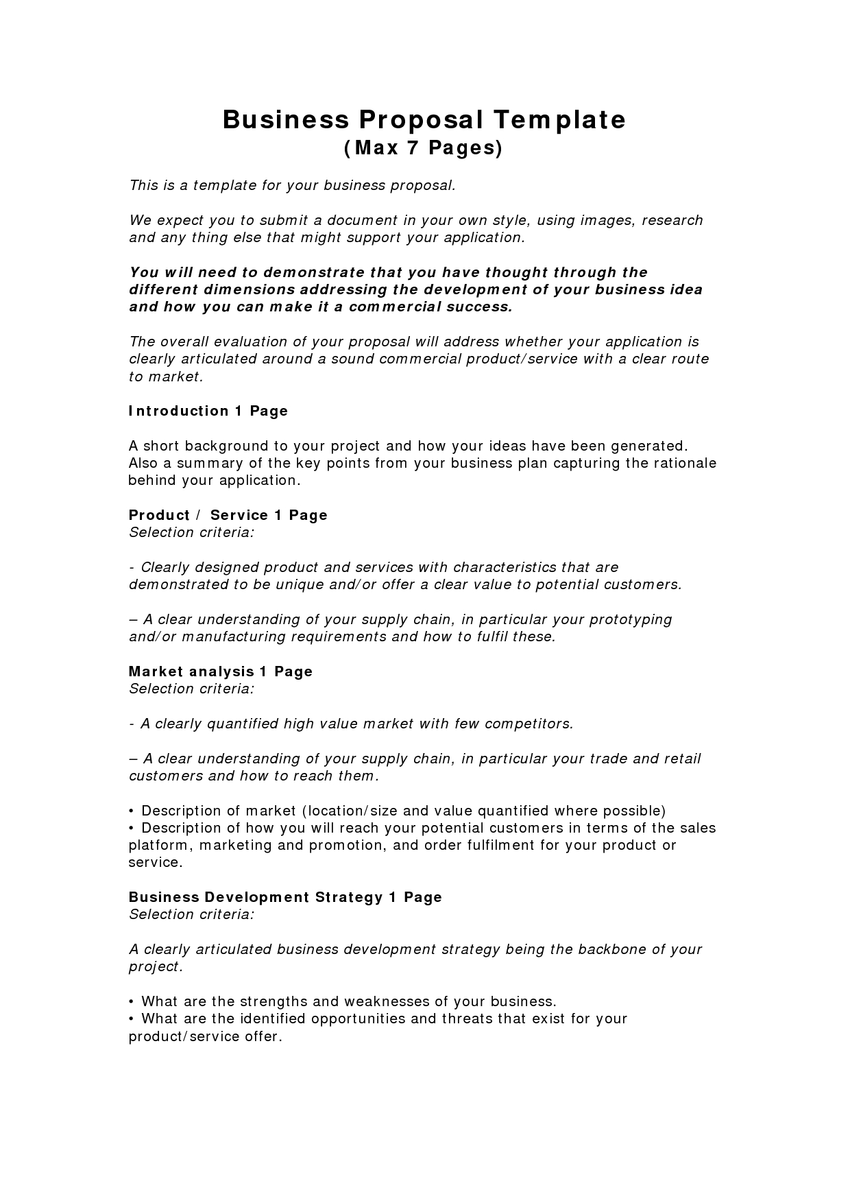 Business Proposal Letter Template Free Download - Business Proposal Templates Examples