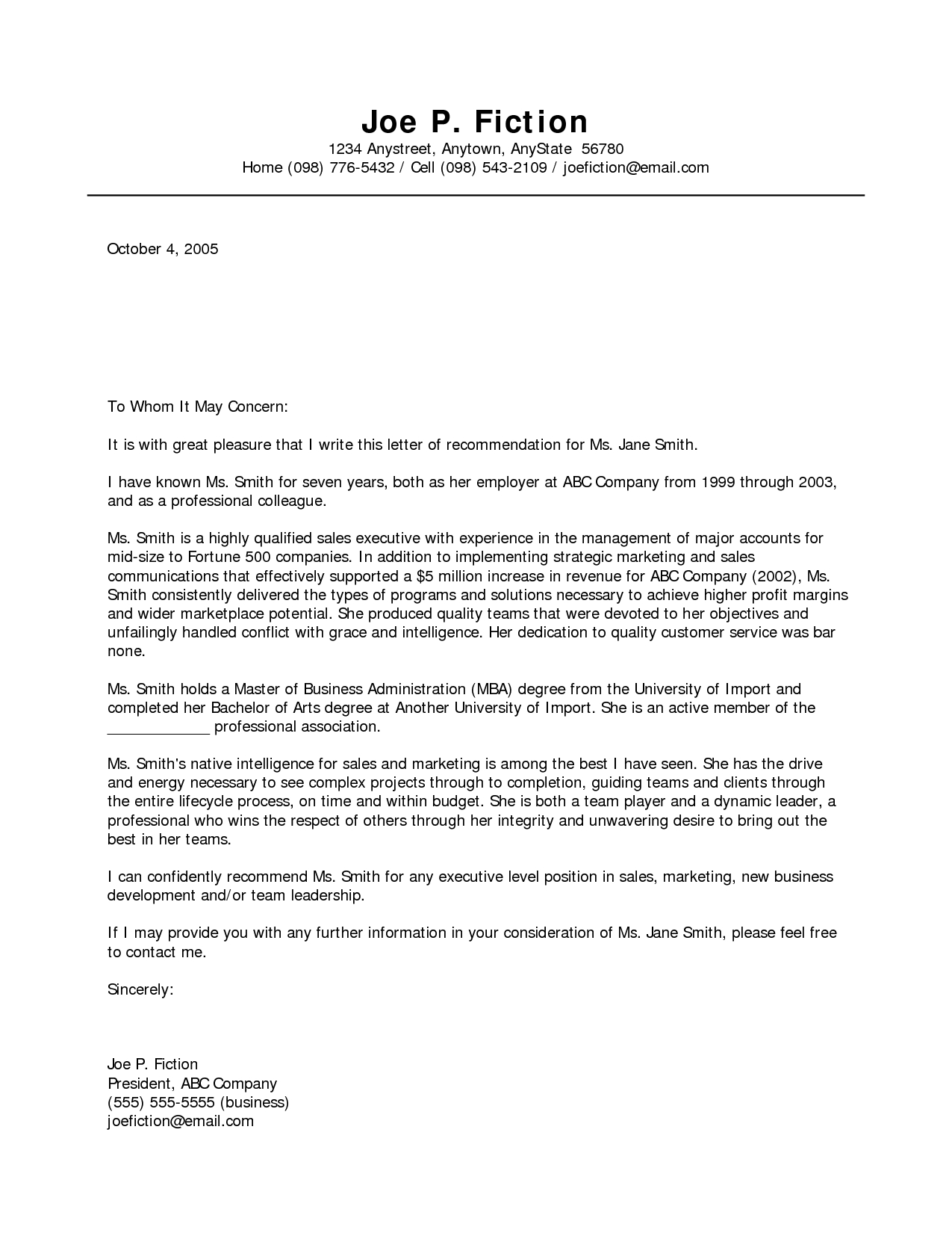 Letter Of Recommendation Template Pdf - Business Re Mendation Letter Template Acurnamedia