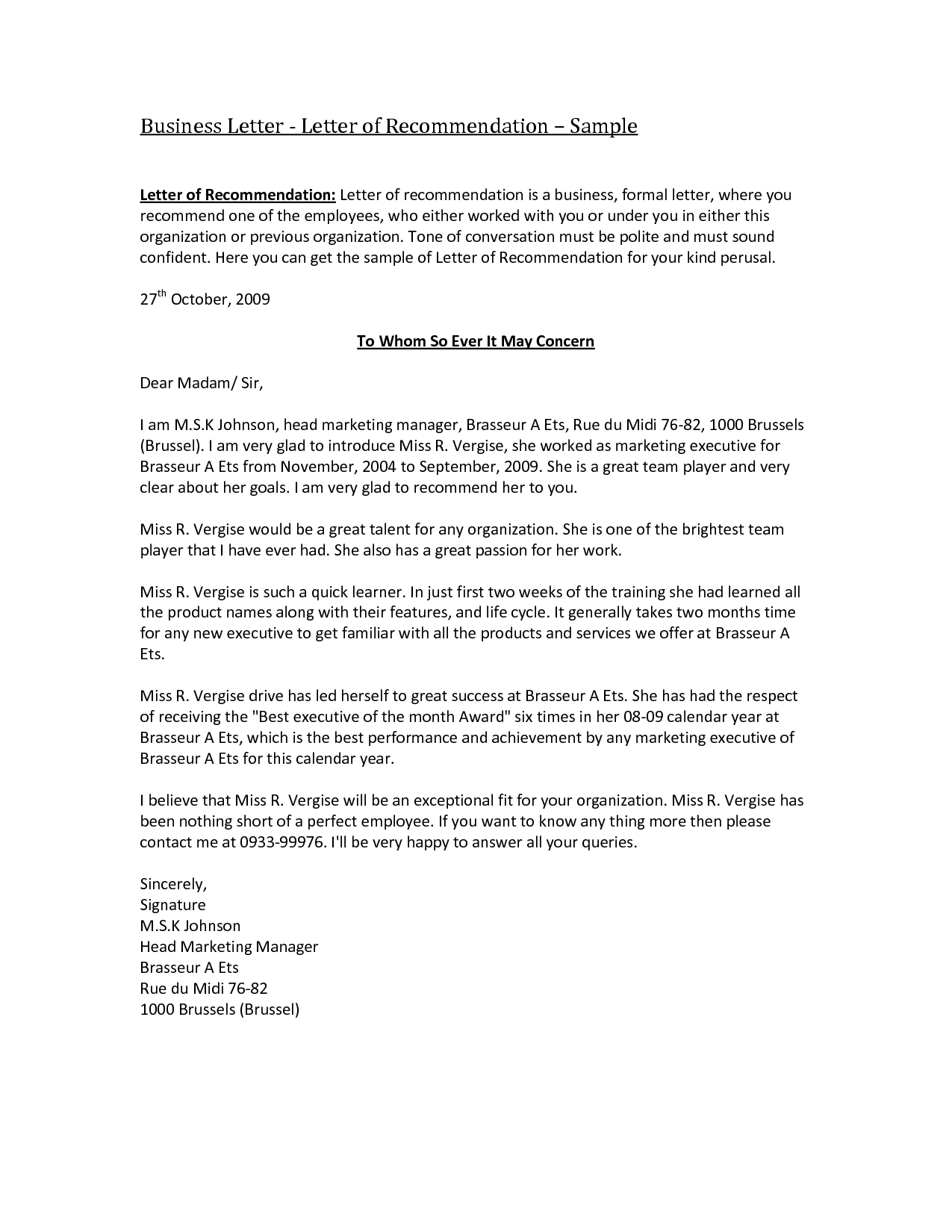 Sample Letter Of Recommendation Template Free - Business Re Mendation Letter Template Acurnamedia