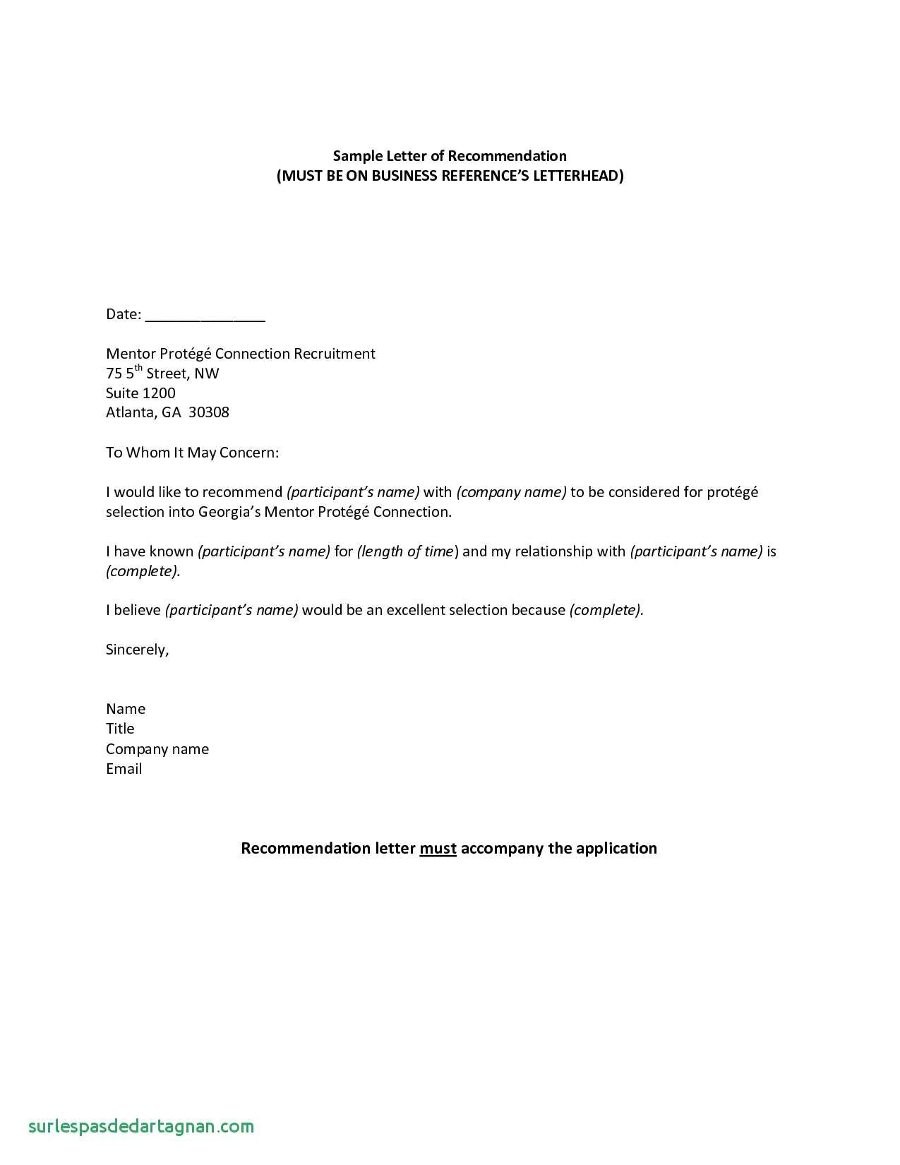 Business Reference Letter Template Word - Business Re Mendation Letter Template Save 31 New Reference Letter
