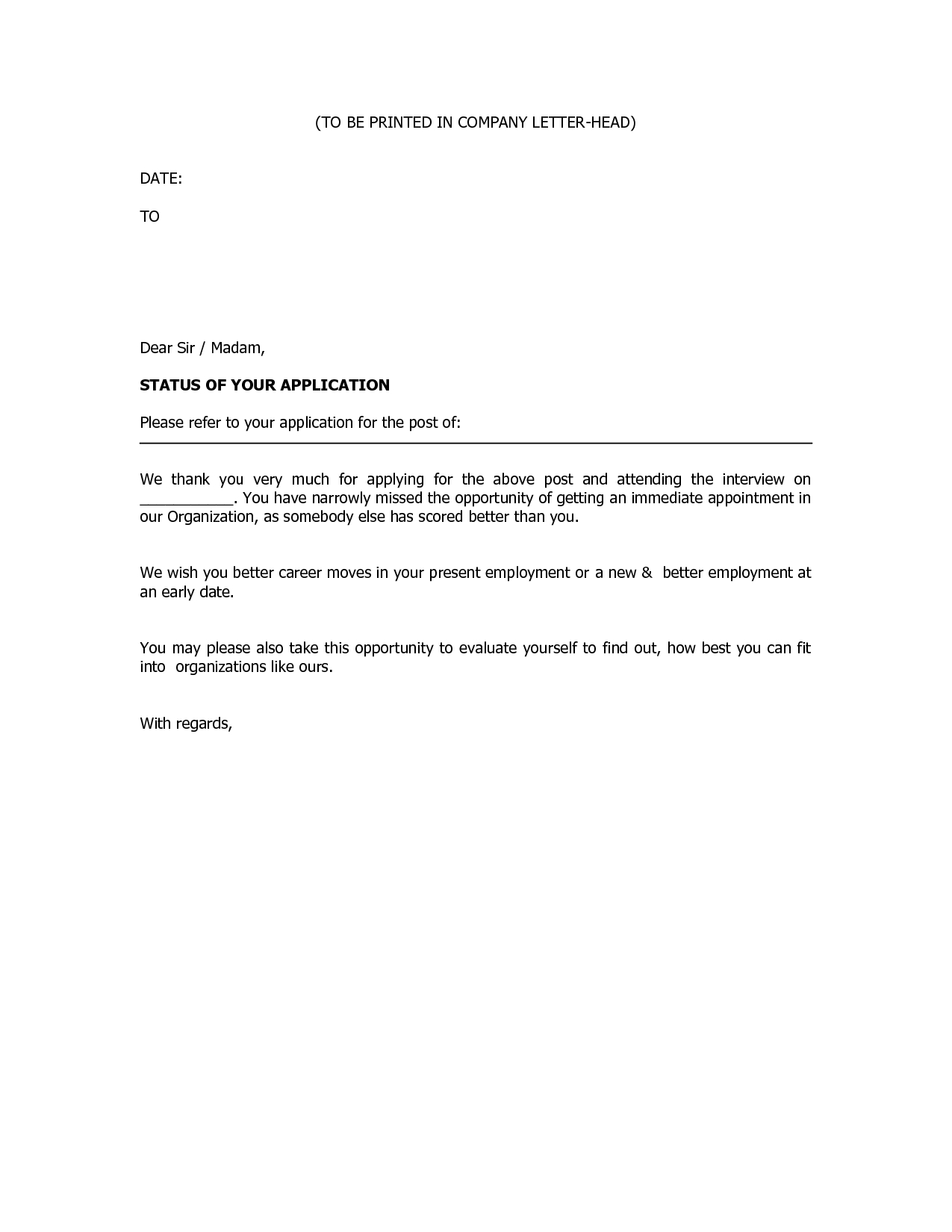 Rejection letter template after interview examples letter templates rejection letter template after interview altavistaventures Gallery