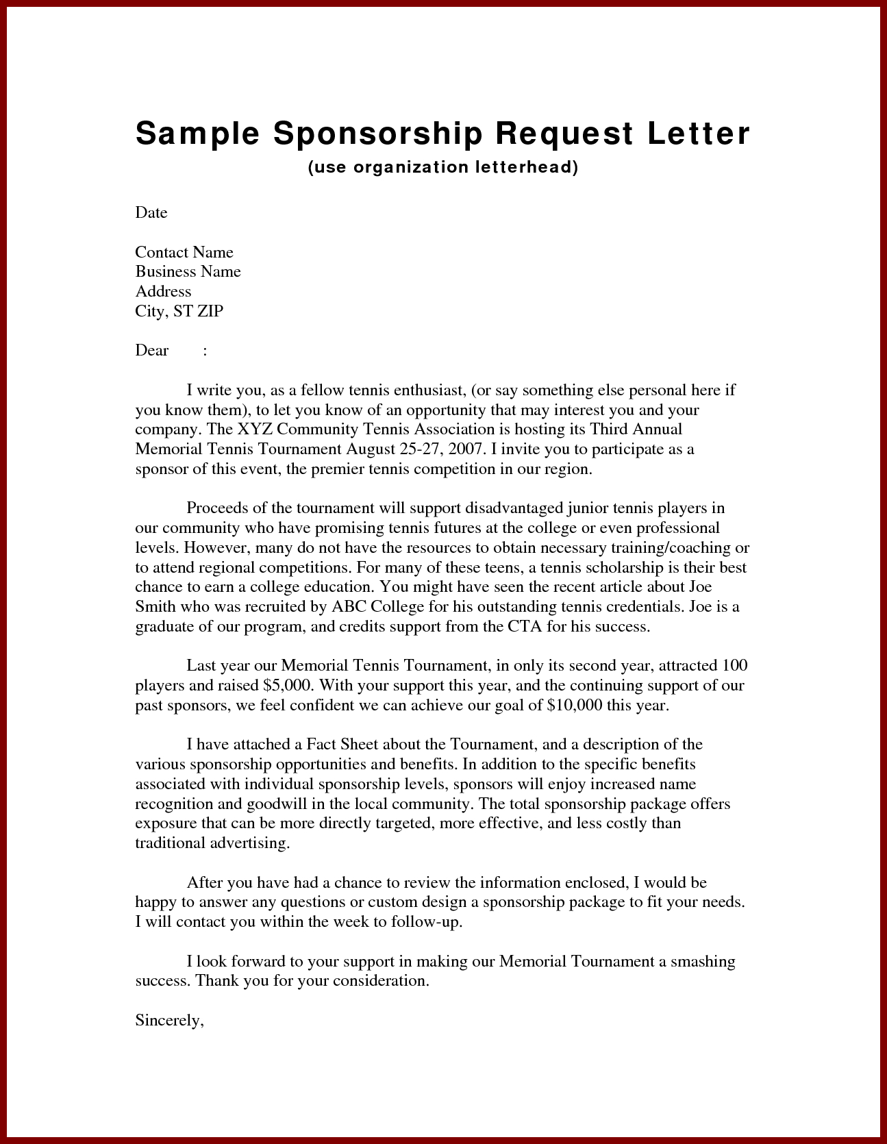 Sponsorship proposal letter template examples letter templates sponsorship proposal letter template business sponsorship letter template gallery business cards ideas cheaphphosting Images