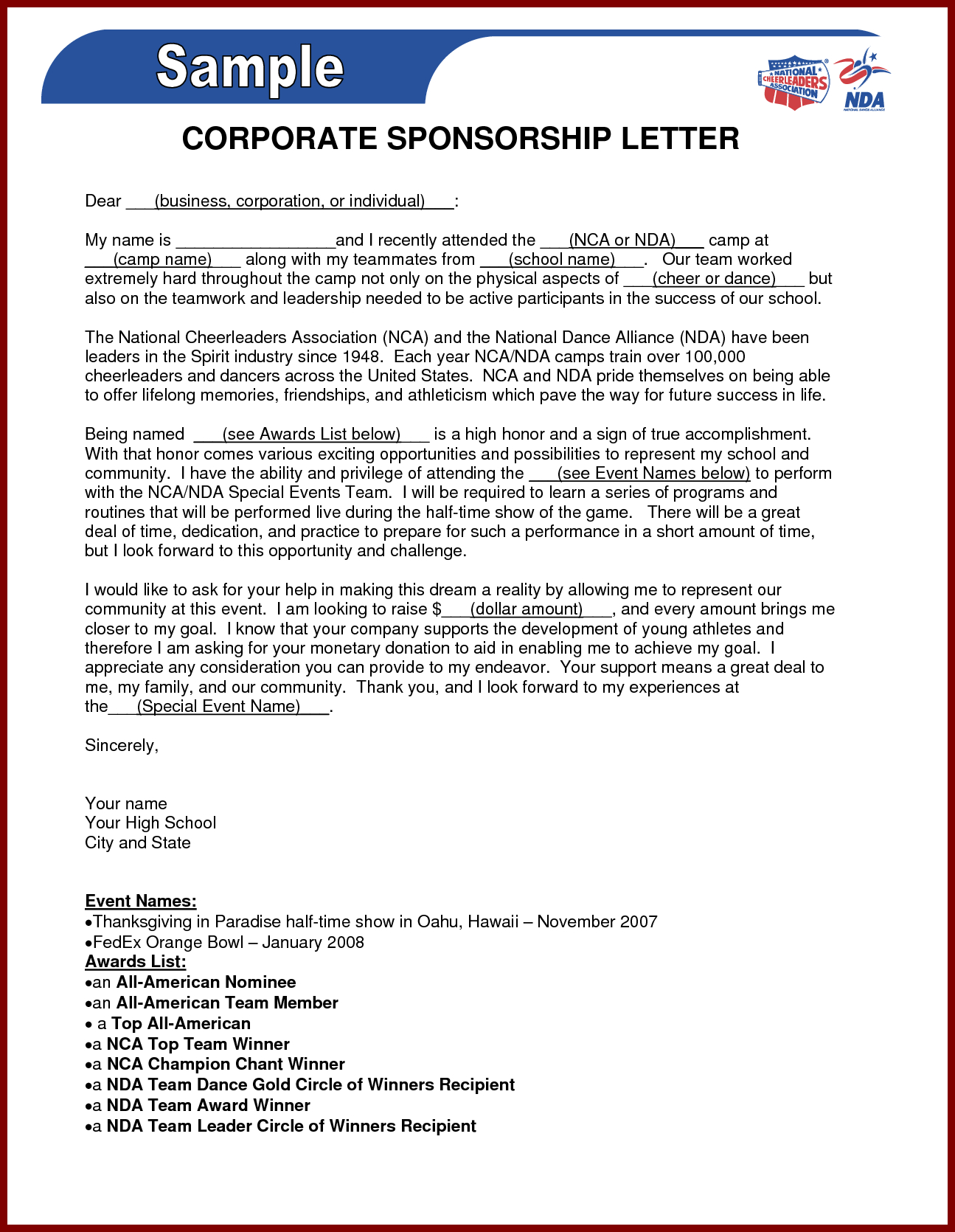 Sponsorship Proposal Letter Template - Business Sponsorship Letter Template Gallery Business Cards Ideas