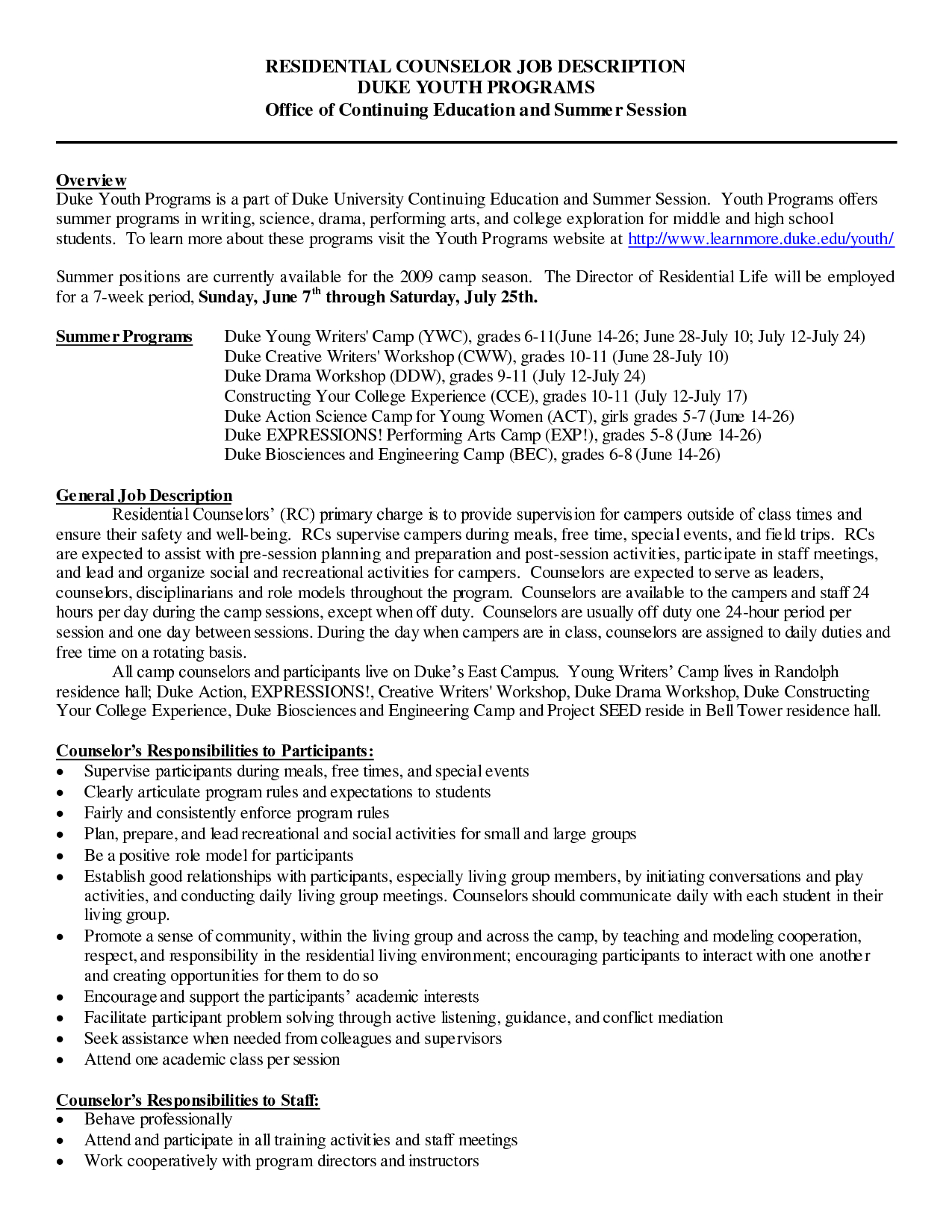 Summer Camp Letter to Parents Template - Camp Counselor Resume Summer Useful for Best with Sradd