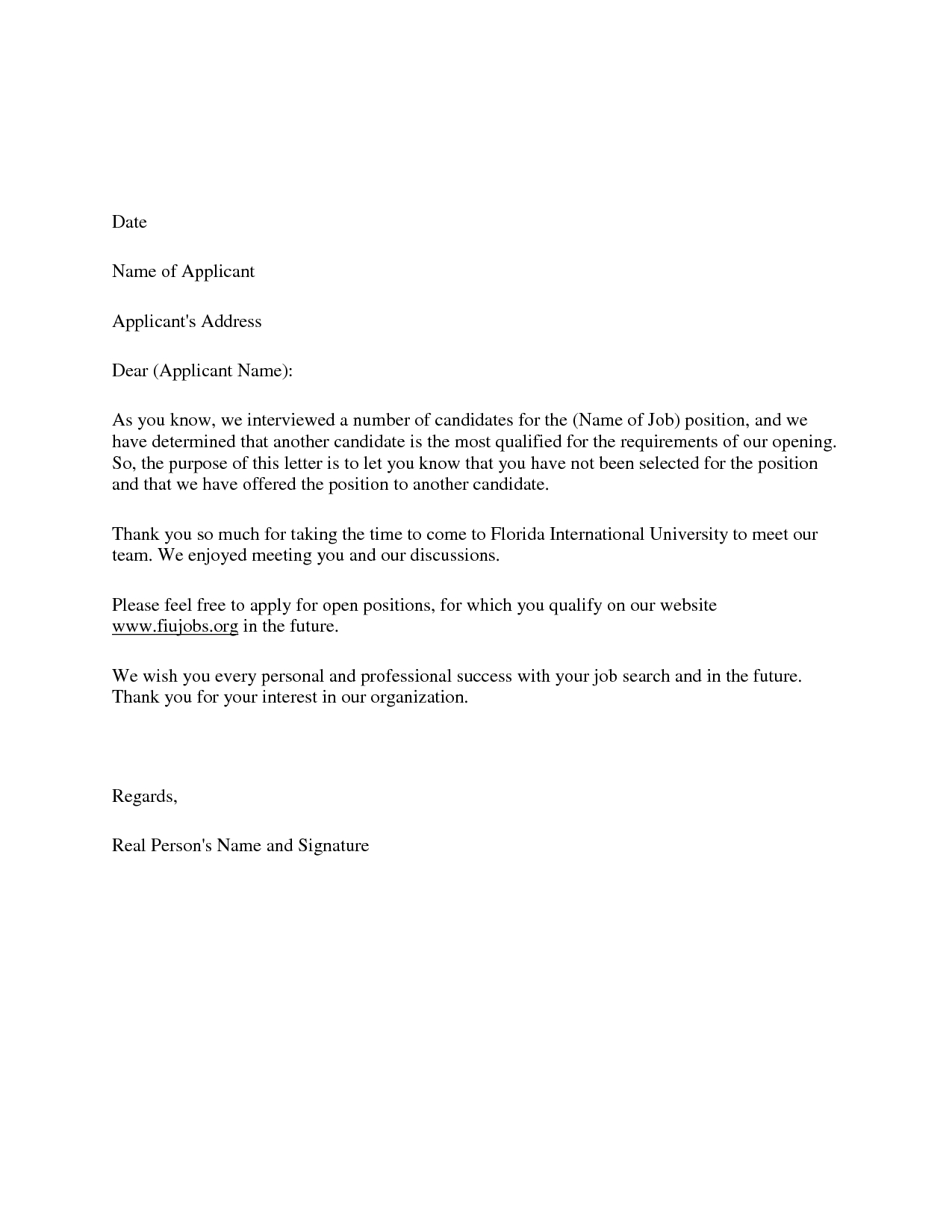Employment Rejection Letter Template - Candidate Decline Letter Employers Of Choice Send Rejection