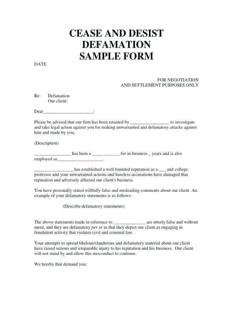 Cease and Desist Contact Letter Template - Cease and Desist Letter Harassment Template Achievable Moreover