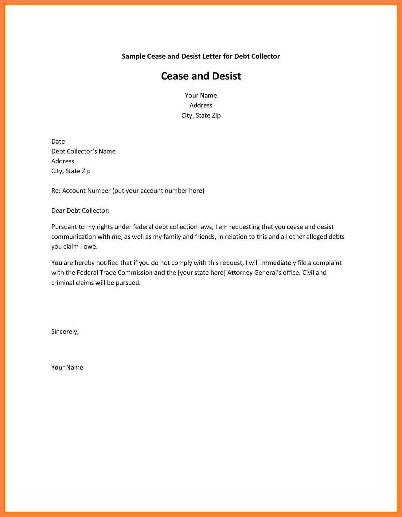 cease and desist creditor letter template cease and desist letter sample lovely best debt collection