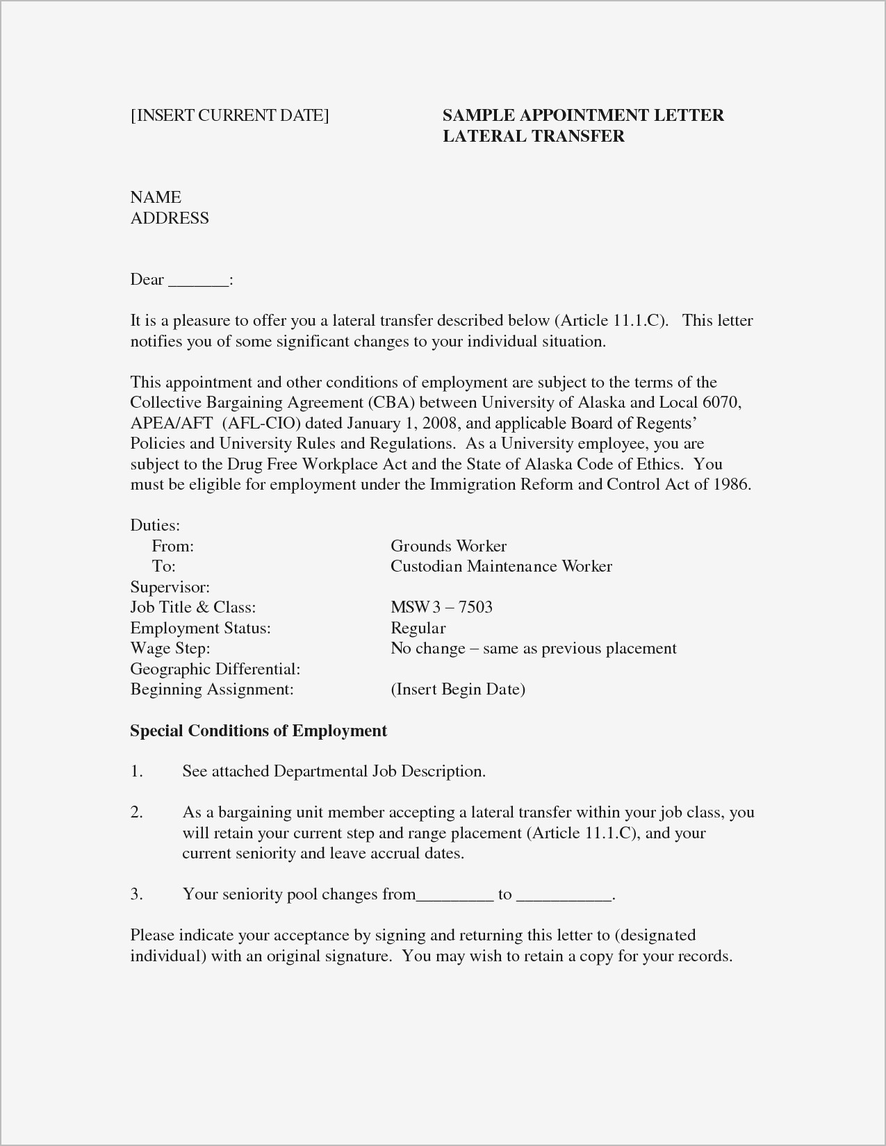 Change of address letter template examples letter templates change of address letter template change job title letter sample fresh sample for job fer spiritdancerdesigns Choice Image