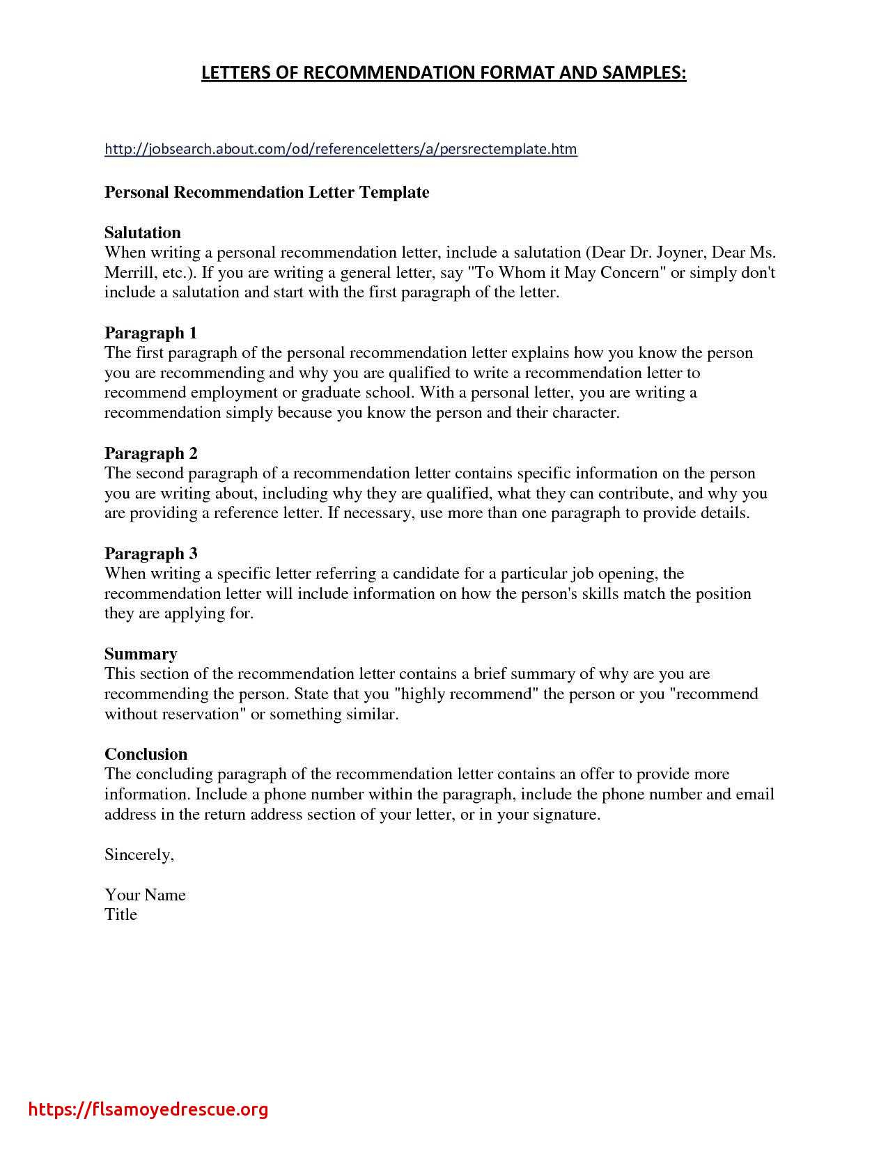 letters of recommendation employment