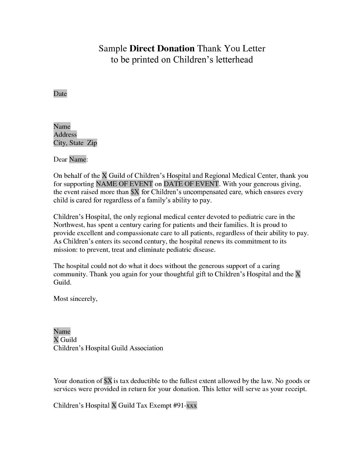 Charitable Donation Letter Template - Church Donation form Template Also Donor Thank You Letter Sample