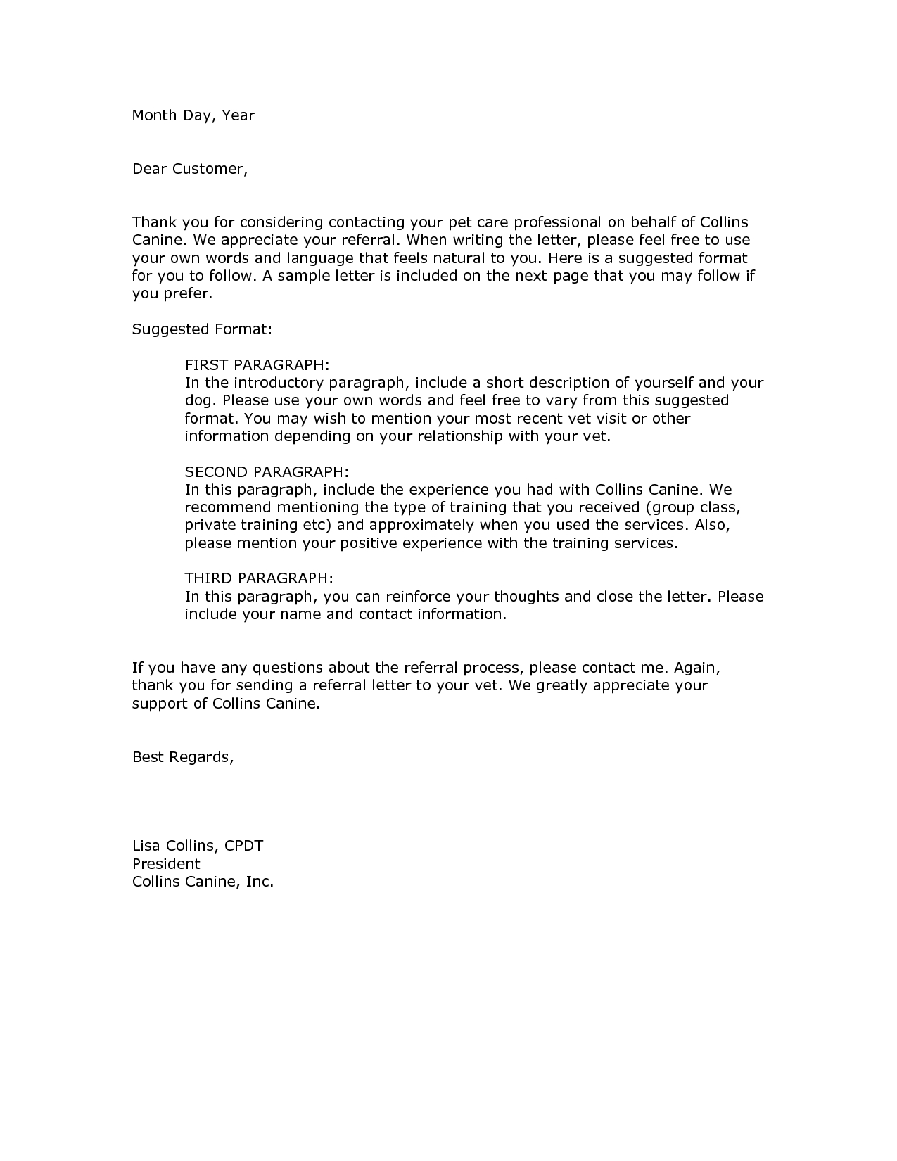 Insurance Referral Letter Template - Client Referral Thank You Letter Gallery Letter format formal Sample