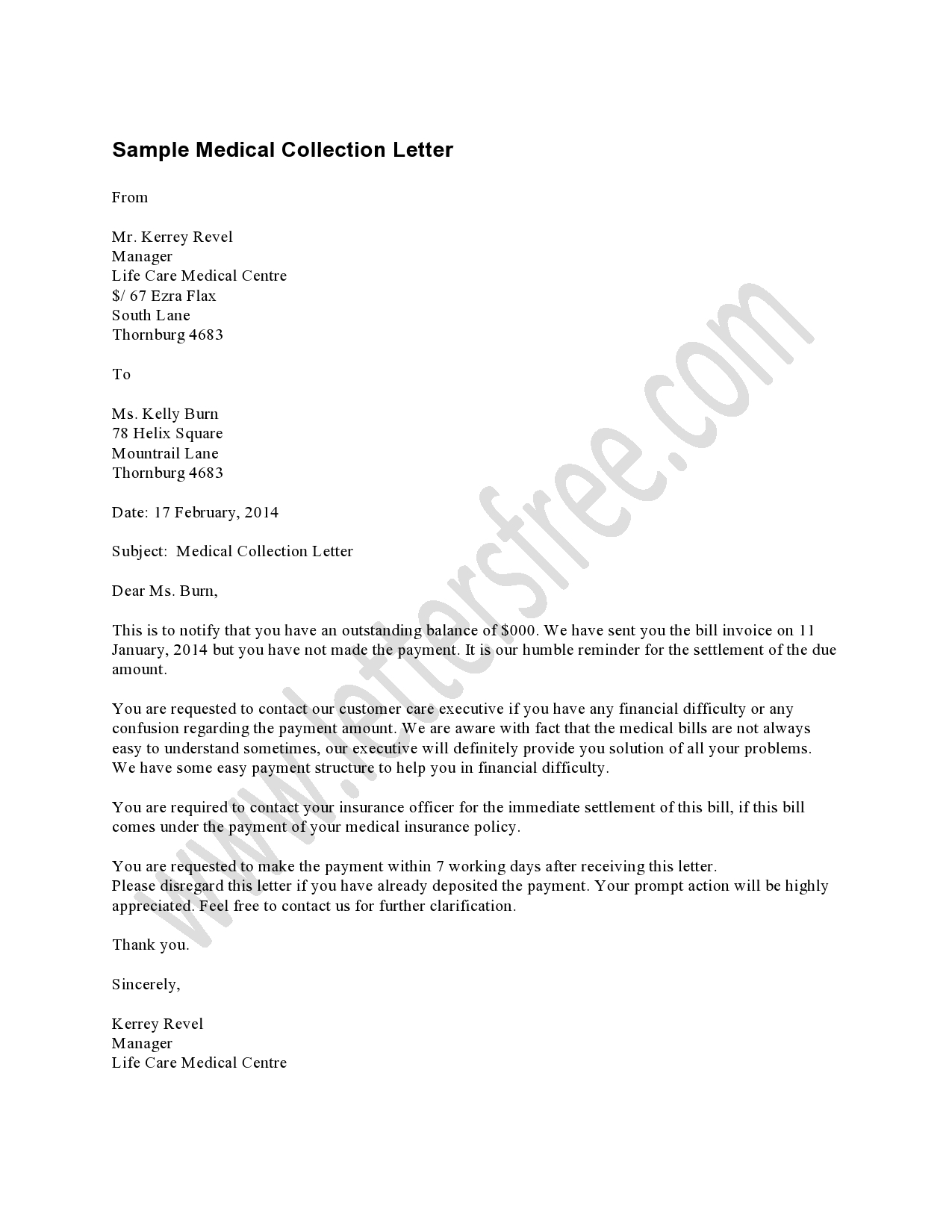 Hipaa letter medical collection template collection letter templates hipaa letter medical collection template collections letter template for business choice image business friedricerecipe