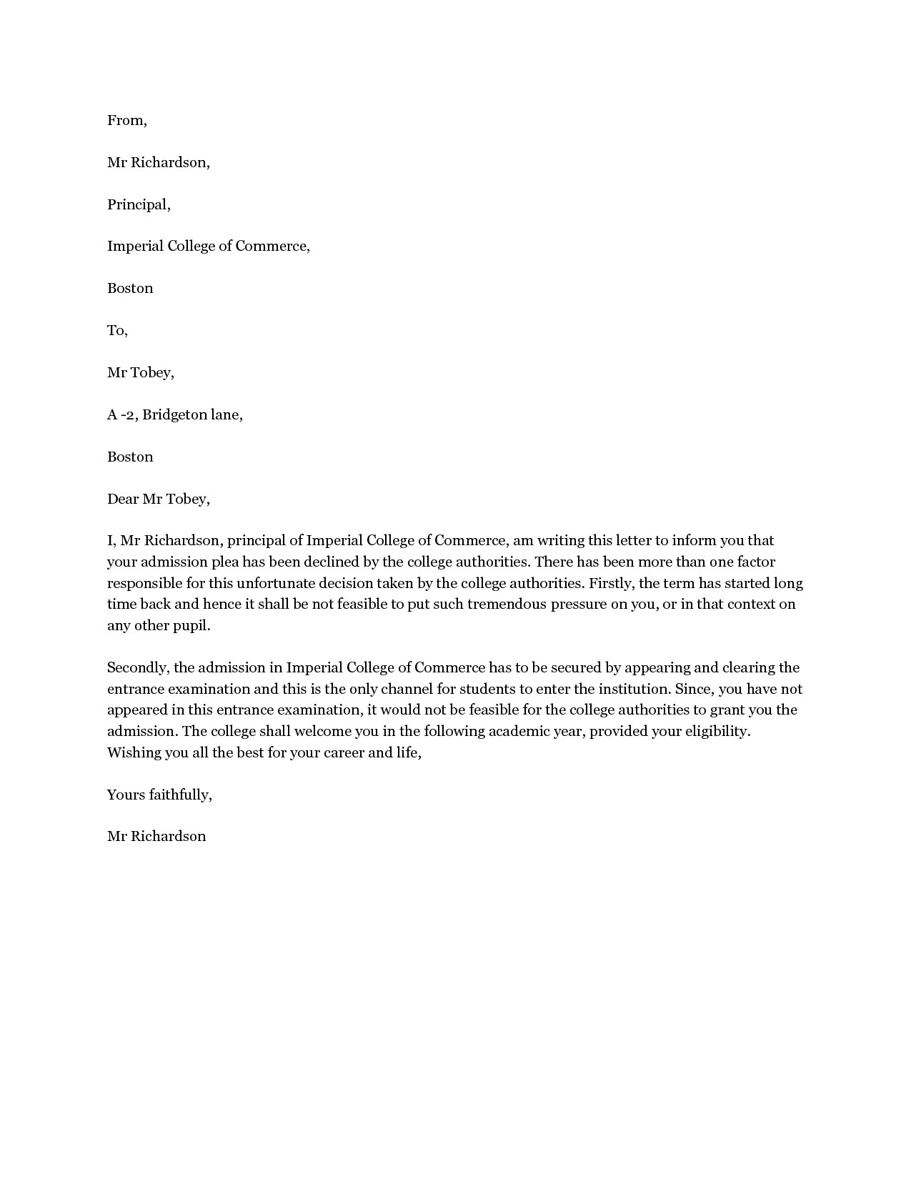 college rejection letter template - rejection letter template examples letter templates