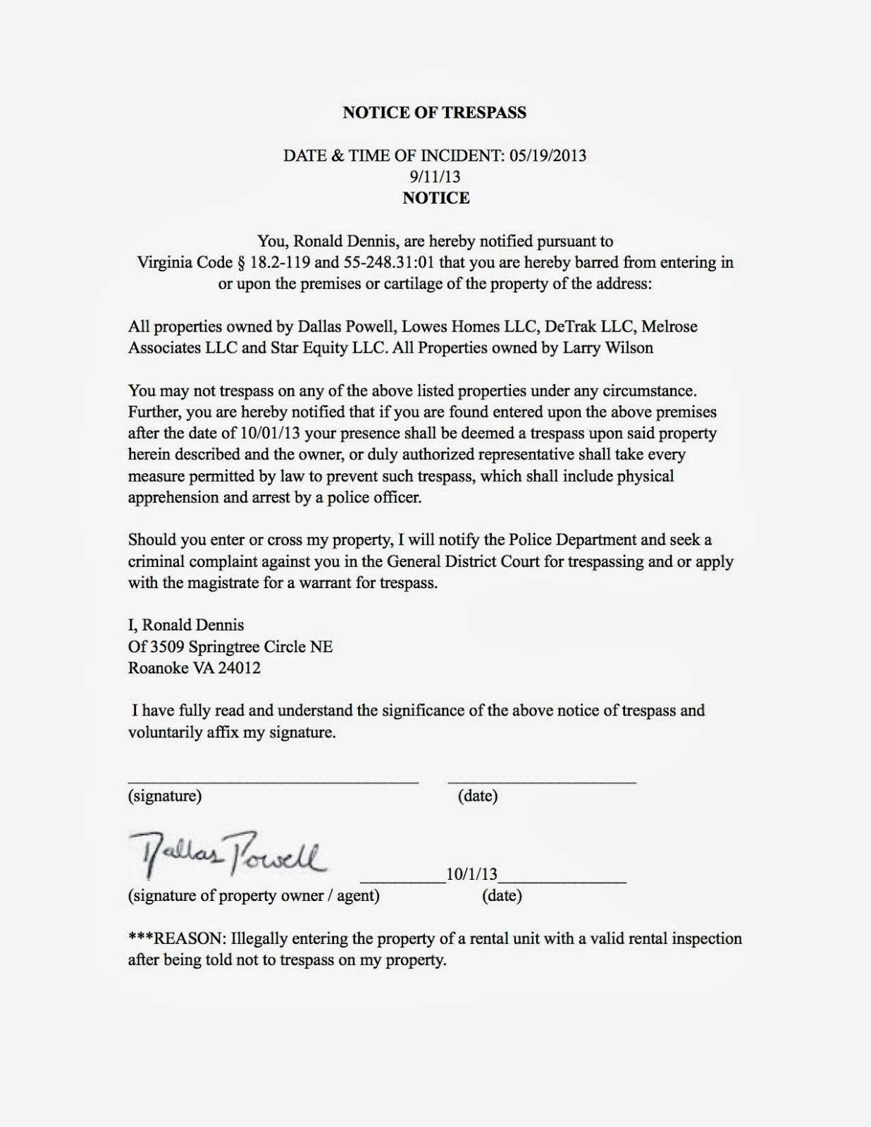 Cease and desist trespassing letter template examples for Trespass notice template