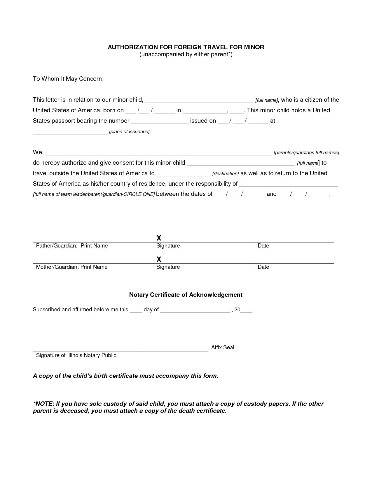 permission to travel letter