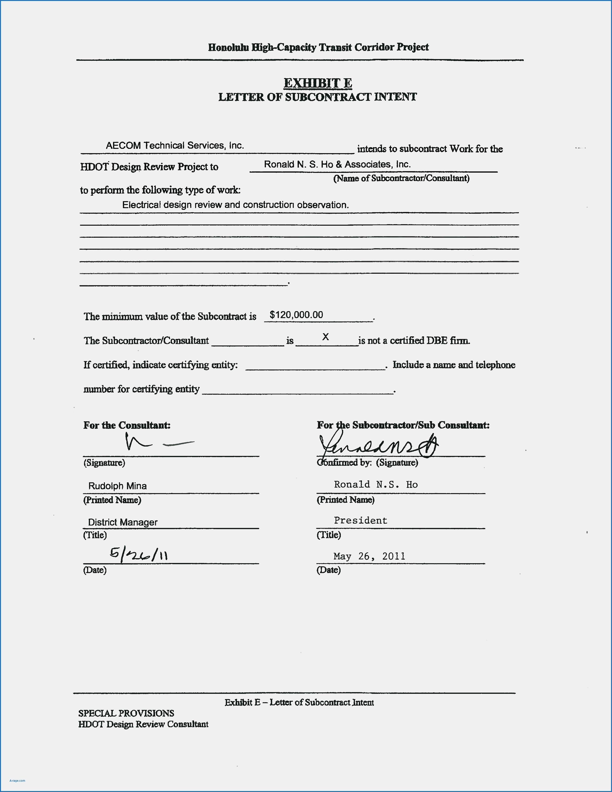 Subcontractor Letter Of Intent Template - Construction Contract Letter Intent Sample Samples Template Free