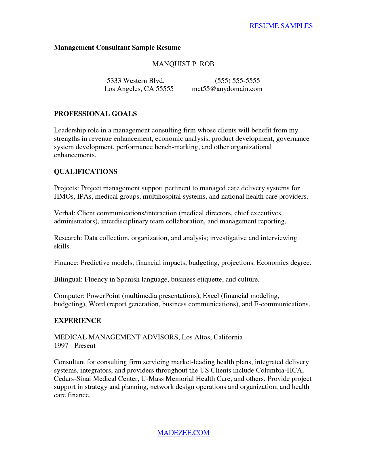 Business Presentation Letter Template - Consultant Sample Management Consulting Cover Letter Management