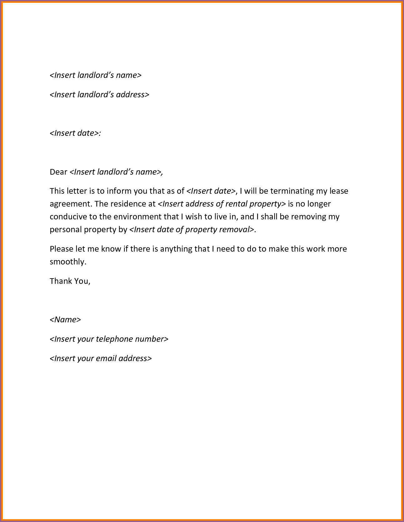 Early Lease Termination Letter To Landlord Template Collection