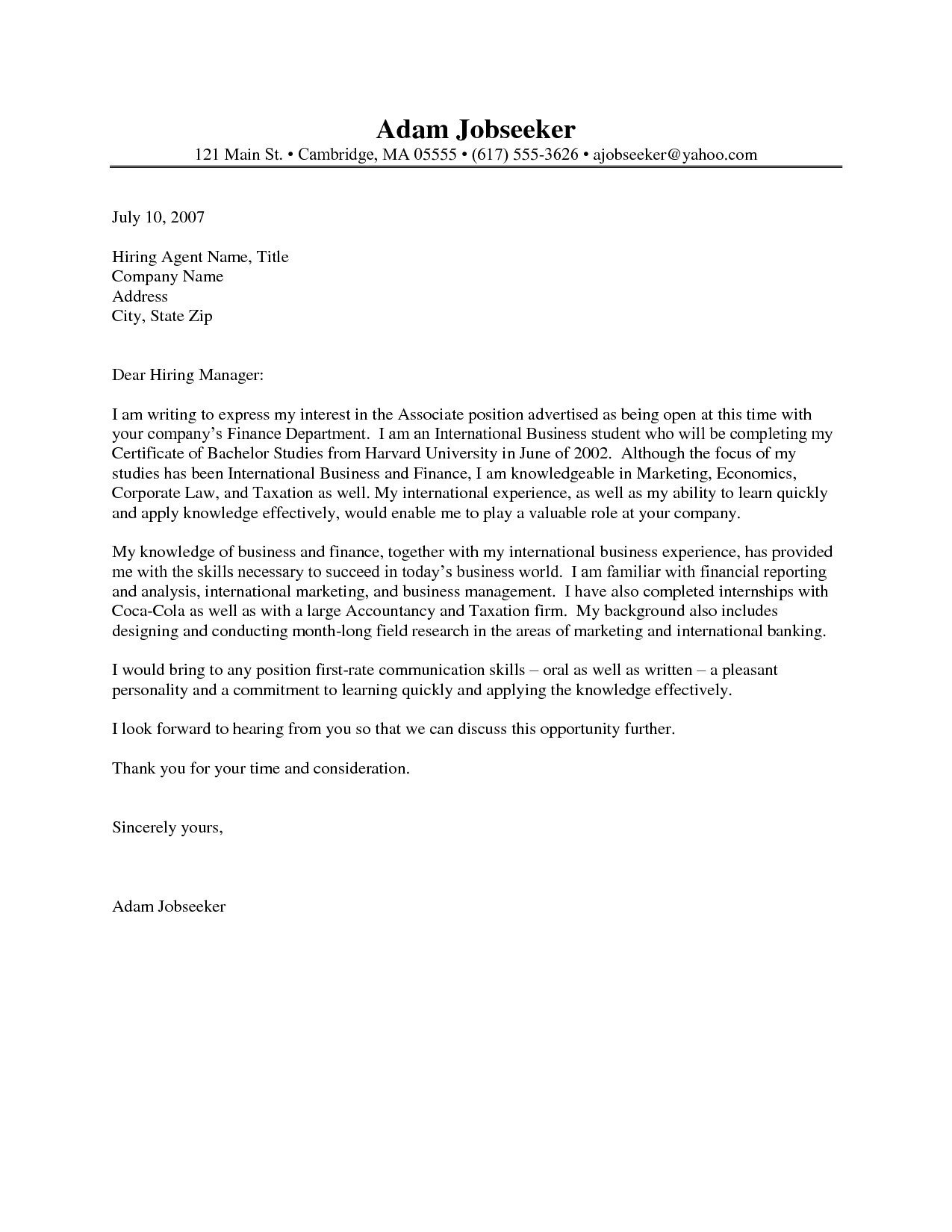 Letter Of Recommendation Template for Internship - Cover Letter Examples for Internship Fresh Cover Letter Examples for