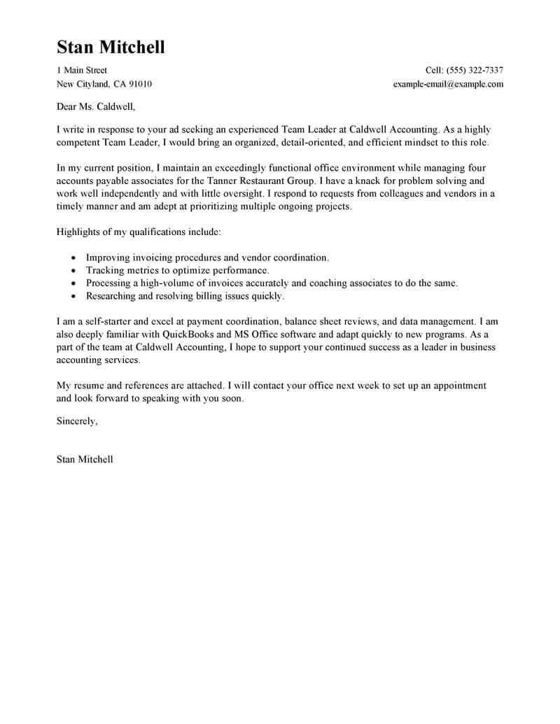 Warehouse Manager Cover Letter Template - Cover Letter for Lead Position Acurnamedia