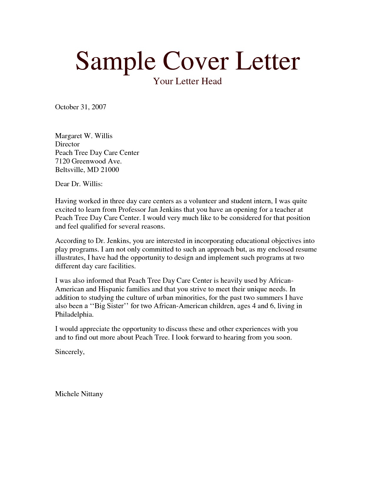 Teacher Application Cover Letter Template - Cover Letter for Montessori Teacher Acurnamedia