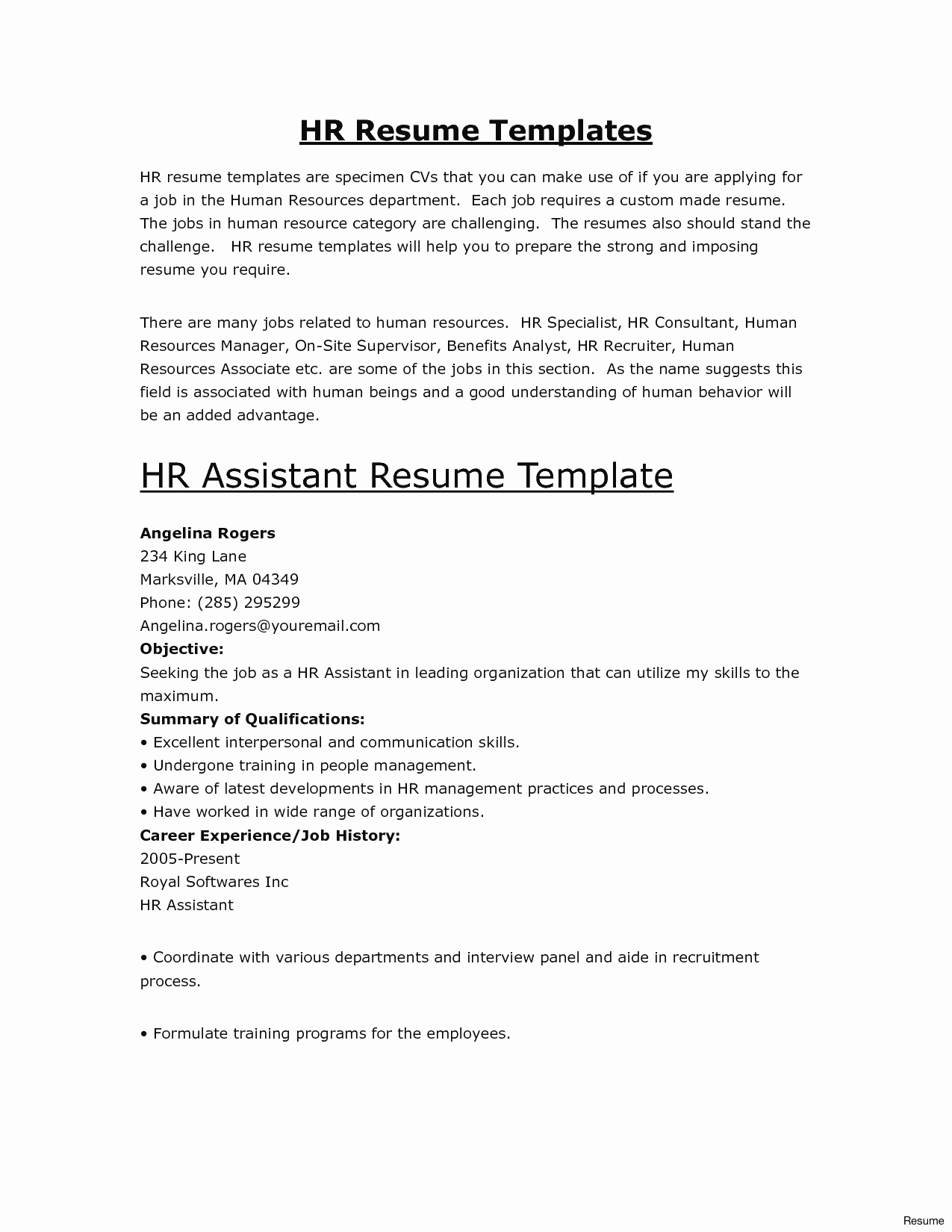 Cover Letter Template for Human Resources - Cover Page for Resume Fresh Mock Resume Templates Fresh Resume Cover