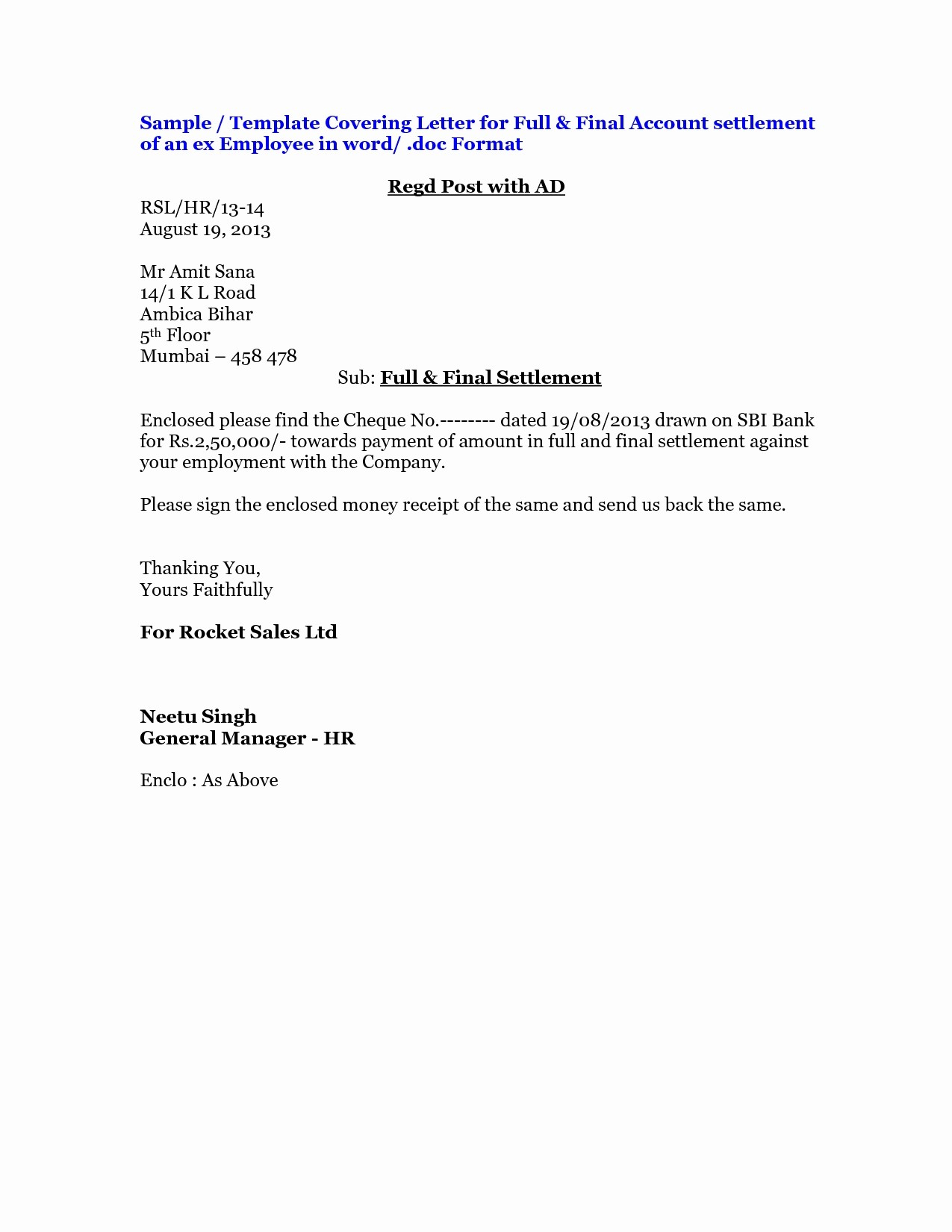 In Full and Final Settlement Letter Template - Covering Letter format for Agreement New Settlement Agreement