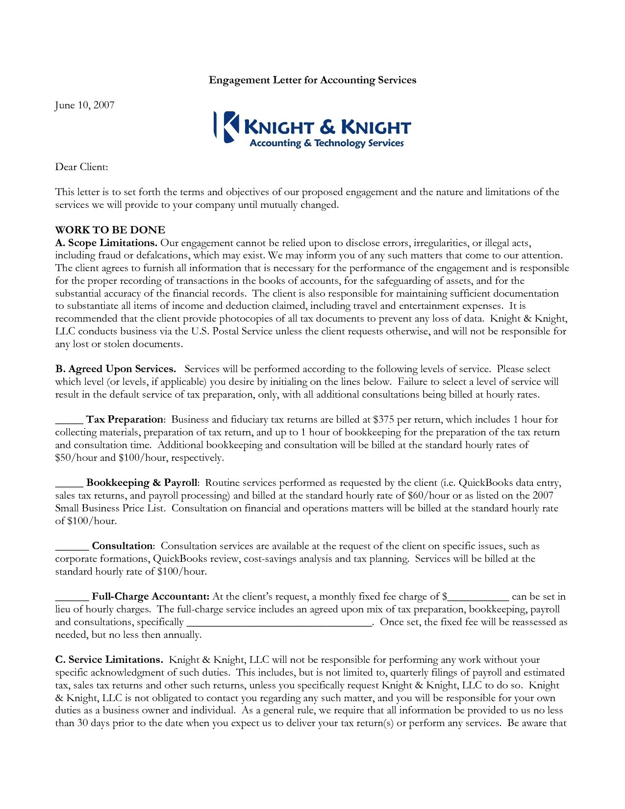 Bookkeeping Engagement Letter Template - Cpa Engagement Letter Template