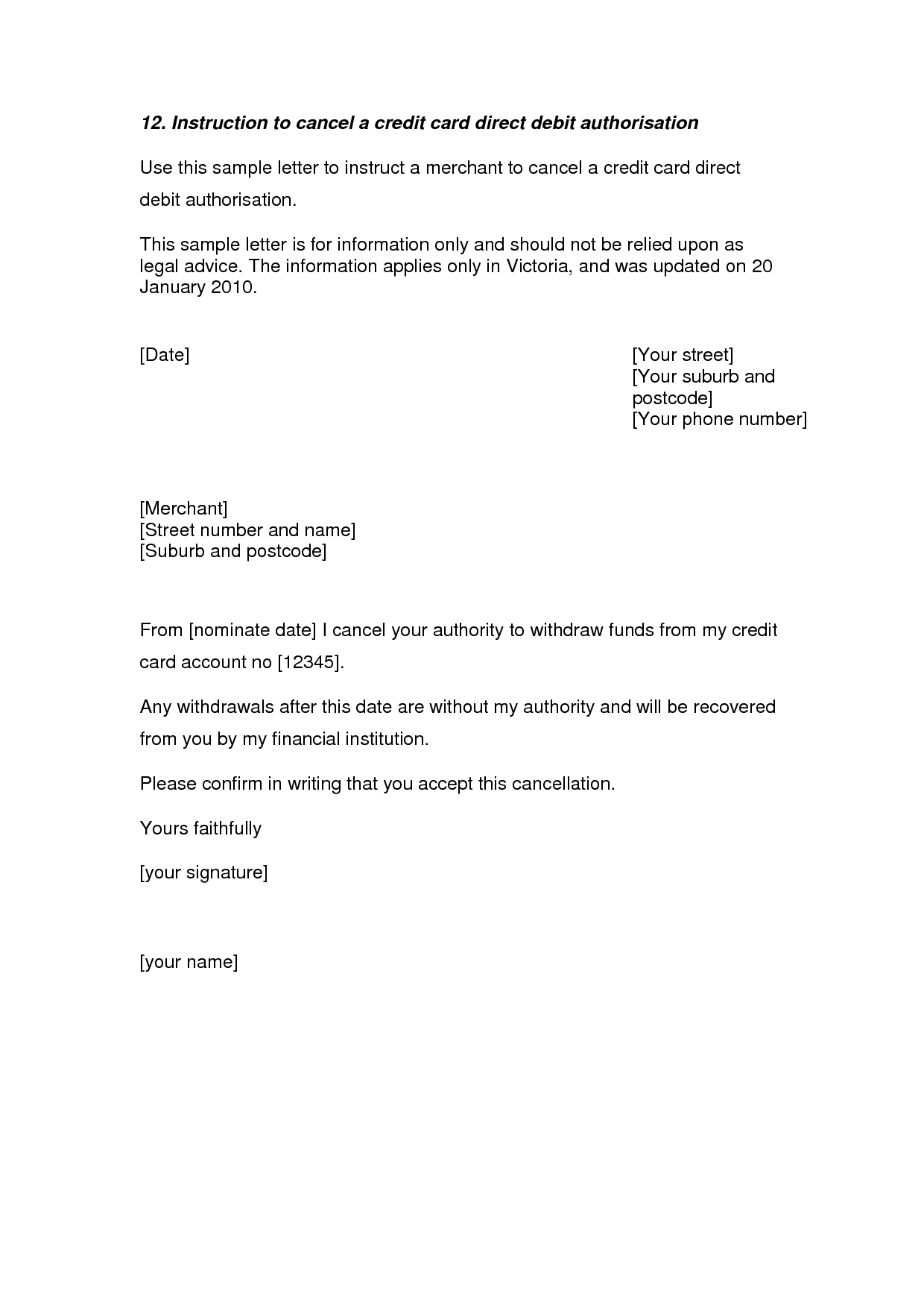 Termination Letter Template Free - Credit Card Cancellation Letter A Credit Card Cancellation Letter