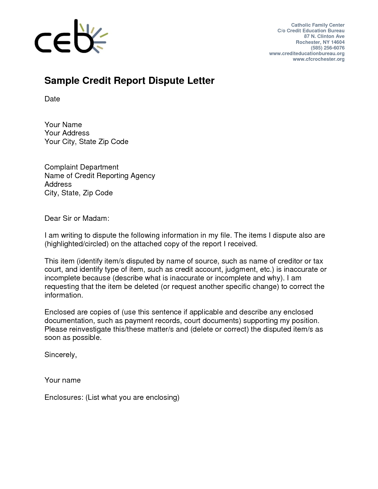 Credit Dispute Letter Template Free - Credit Dispute Letter Templates Acurnamedia