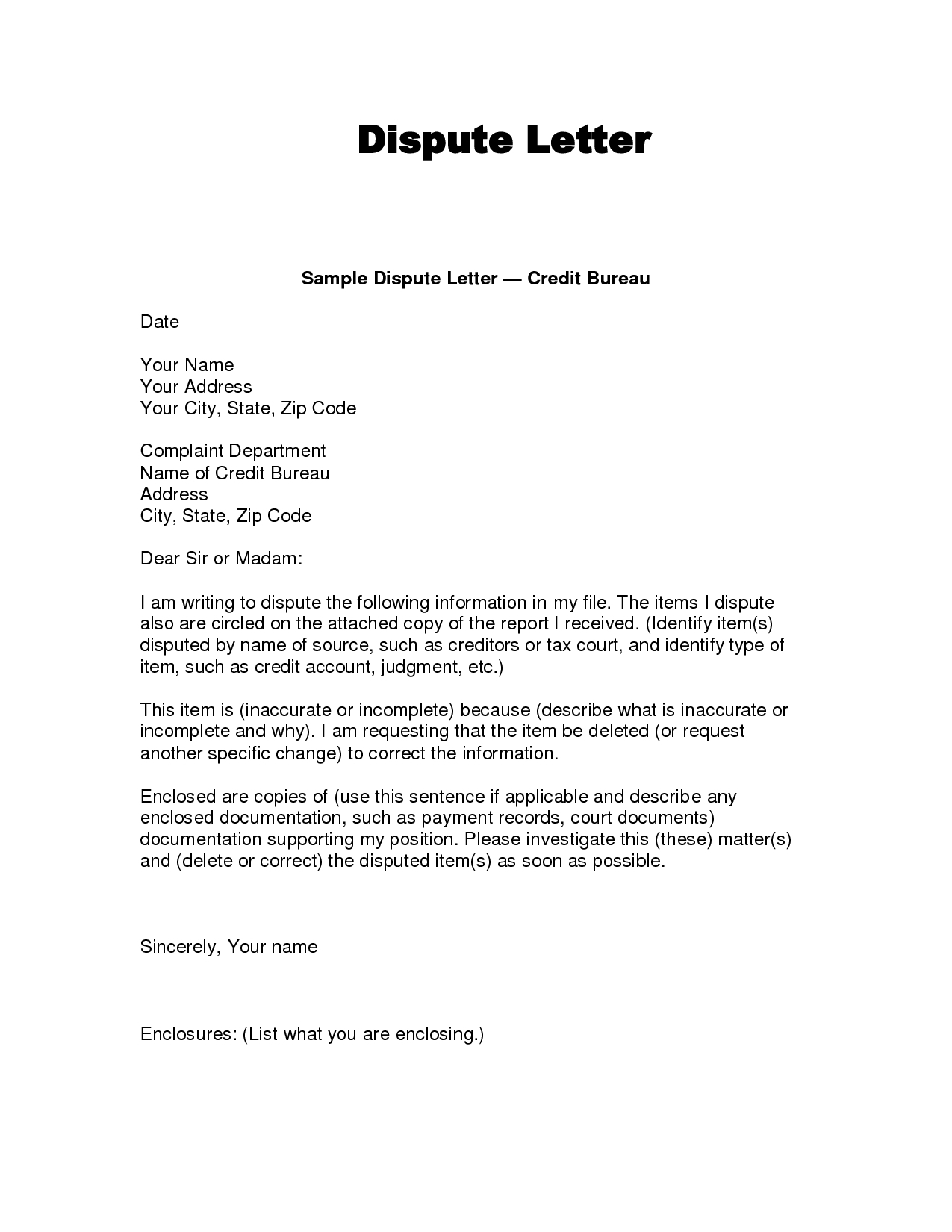 Credit Report Dispute Letter Template - Credit Dispute Letter Templates Acurnamedia