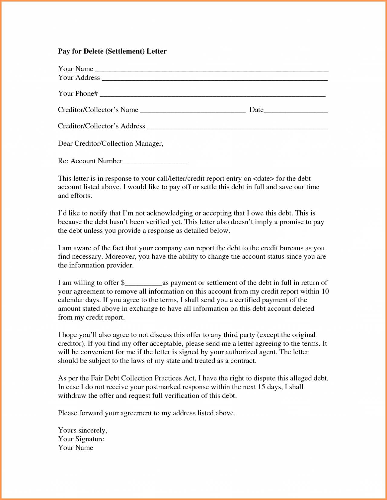 Settlement Agreement Letter Template - Credit Report Dispute Letter Template Also Equipment Loan Agreement