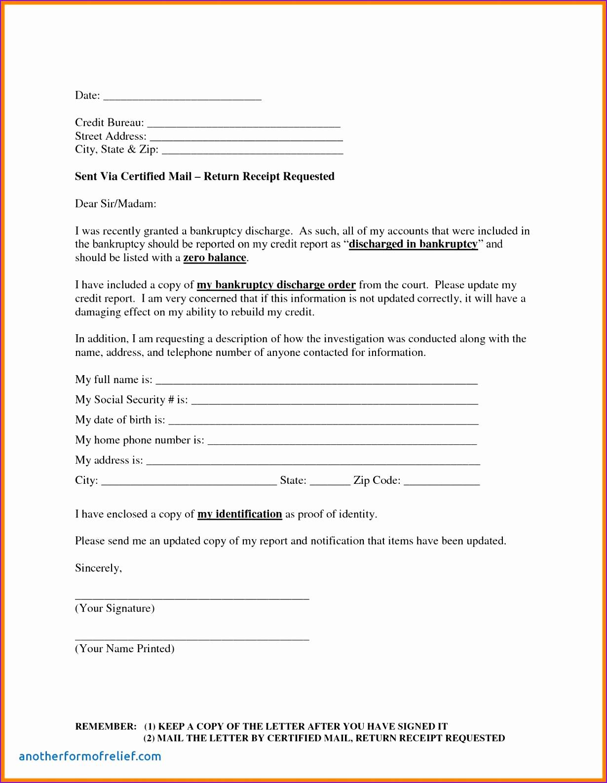 Letter Template to Dispute Credit Report - Credit Report Dispute Letter Template Fresh Credit Repair Letter