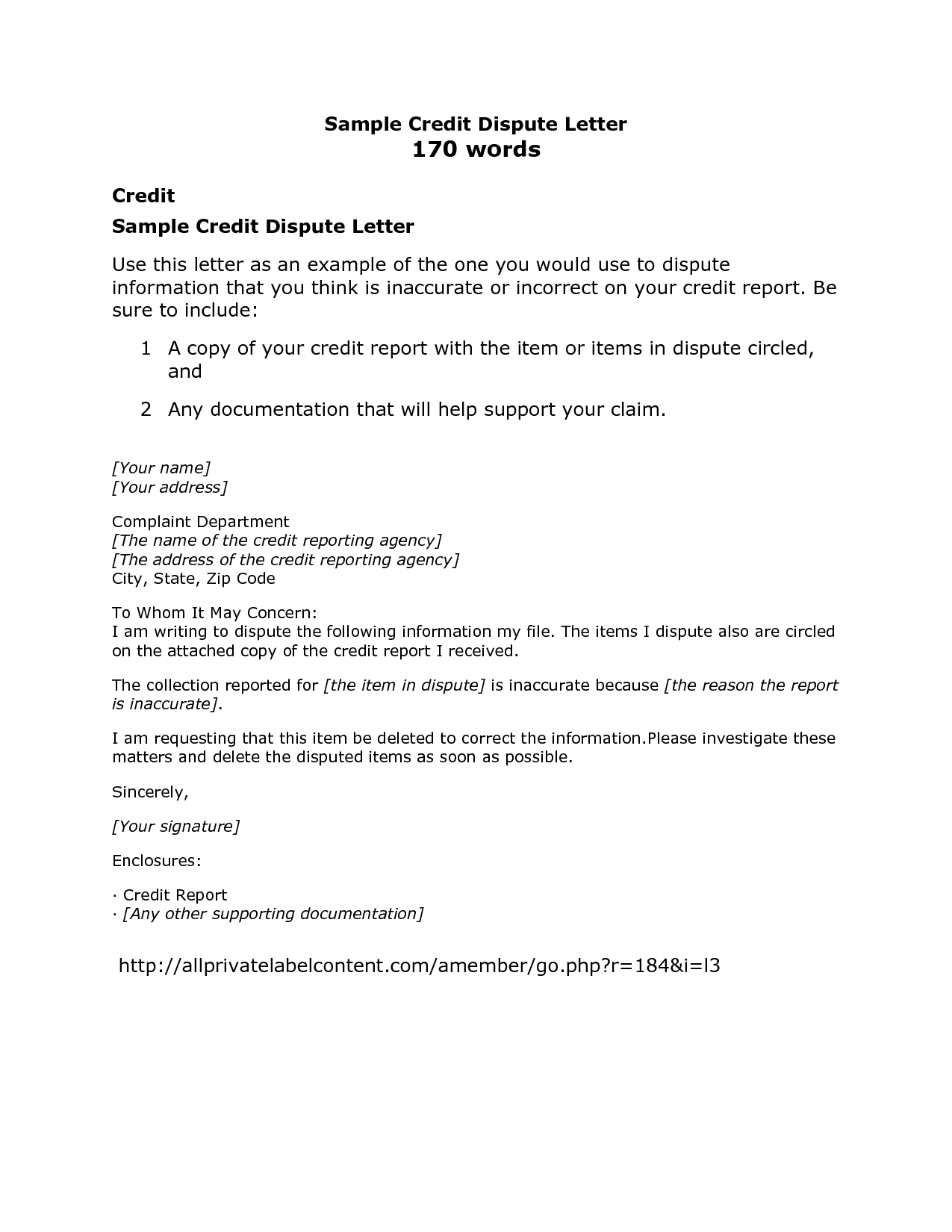 credit report template credit report dispute letter template credit of writing a dispute letter to collection