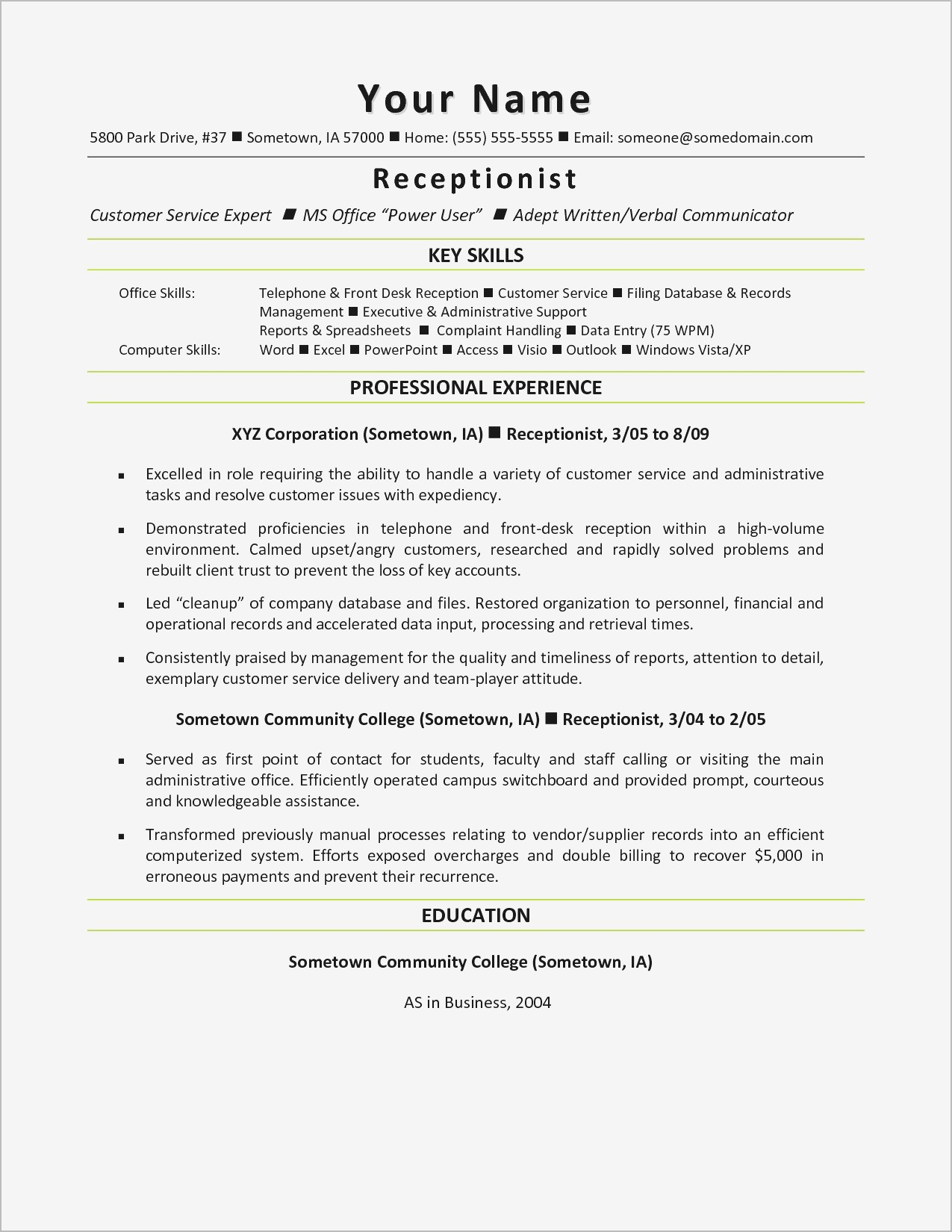 Cover Letter Template for Receptionist - Customer Service Cover Letter Examples Samples