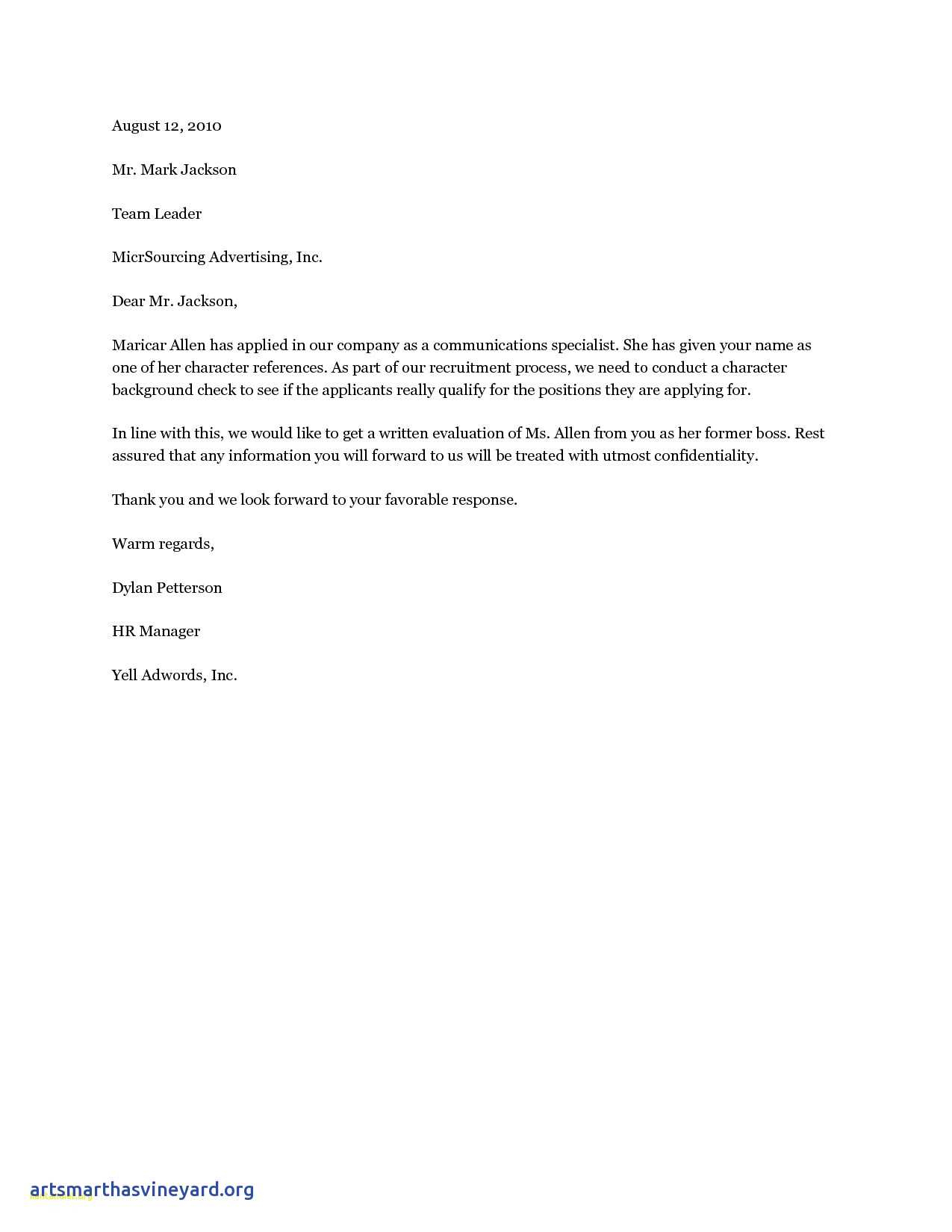 Character Reference Letter Template - Dear Hiring Manager Cover Letter Sample 19 Cover Letter Template