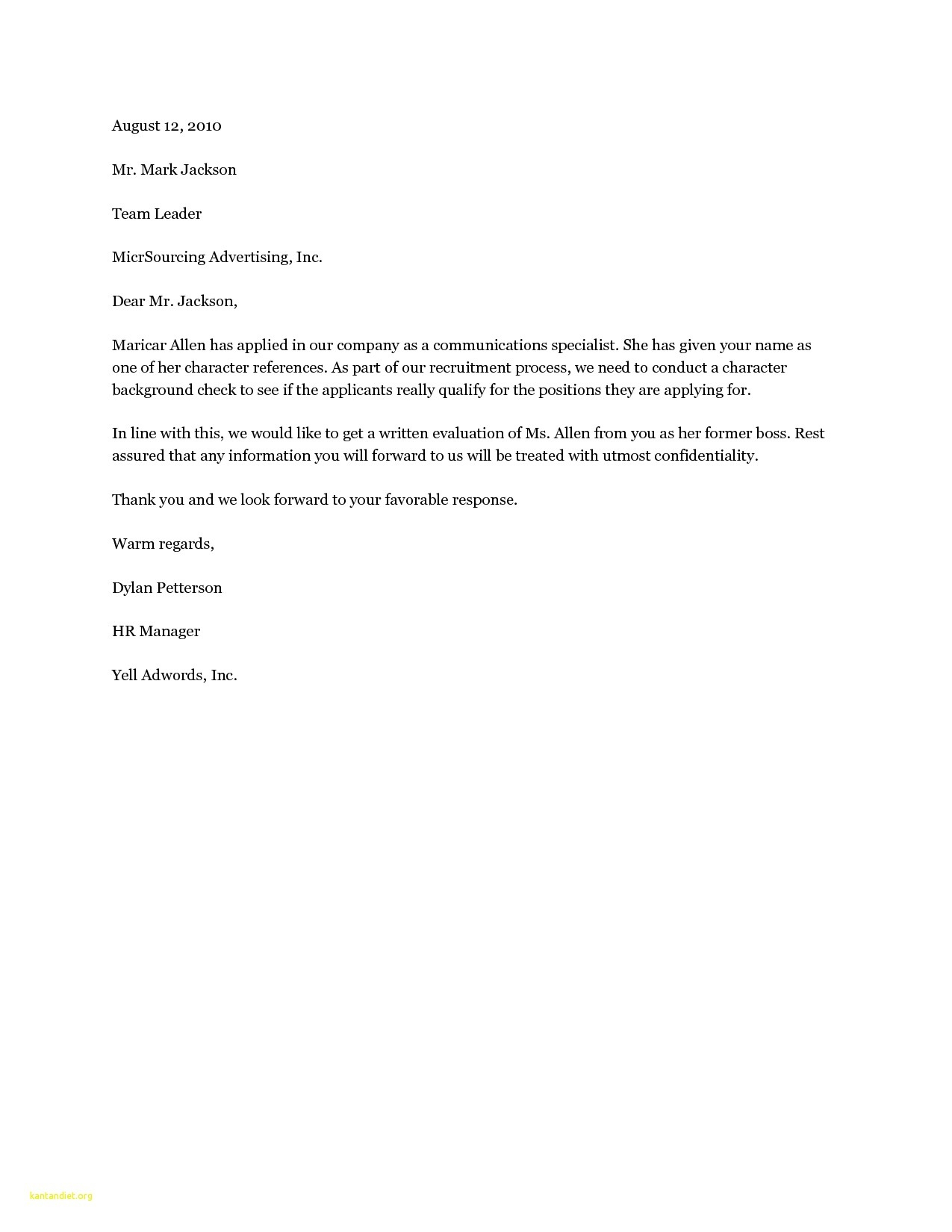 Personal Recommendation Letter Template - Dear Hiring Manager Cover Letter Sample 19 Cover Letter Template