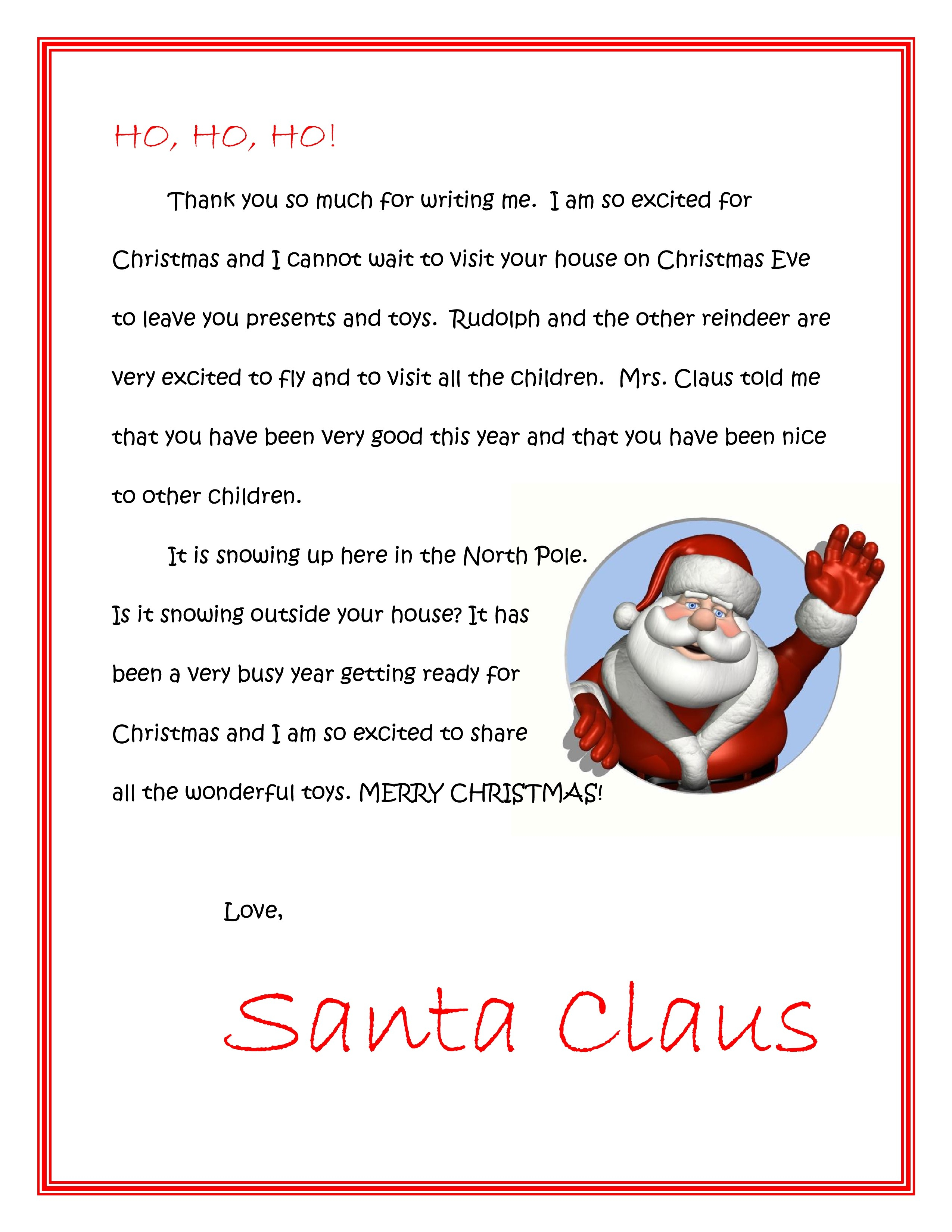 Santa Response Letter Template Collection | Letter Templates
