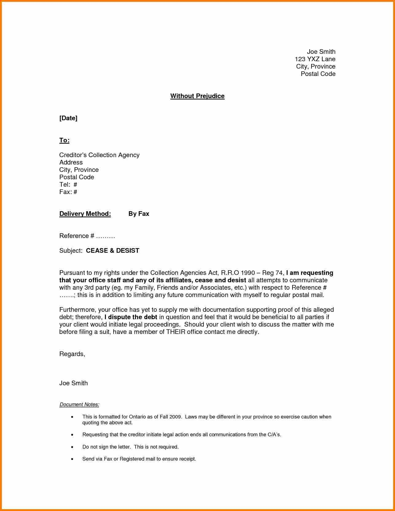 Cease and Desist Contact Letter Template - Debt Collection Cease and Desist Letter Template Copy Jury Duty