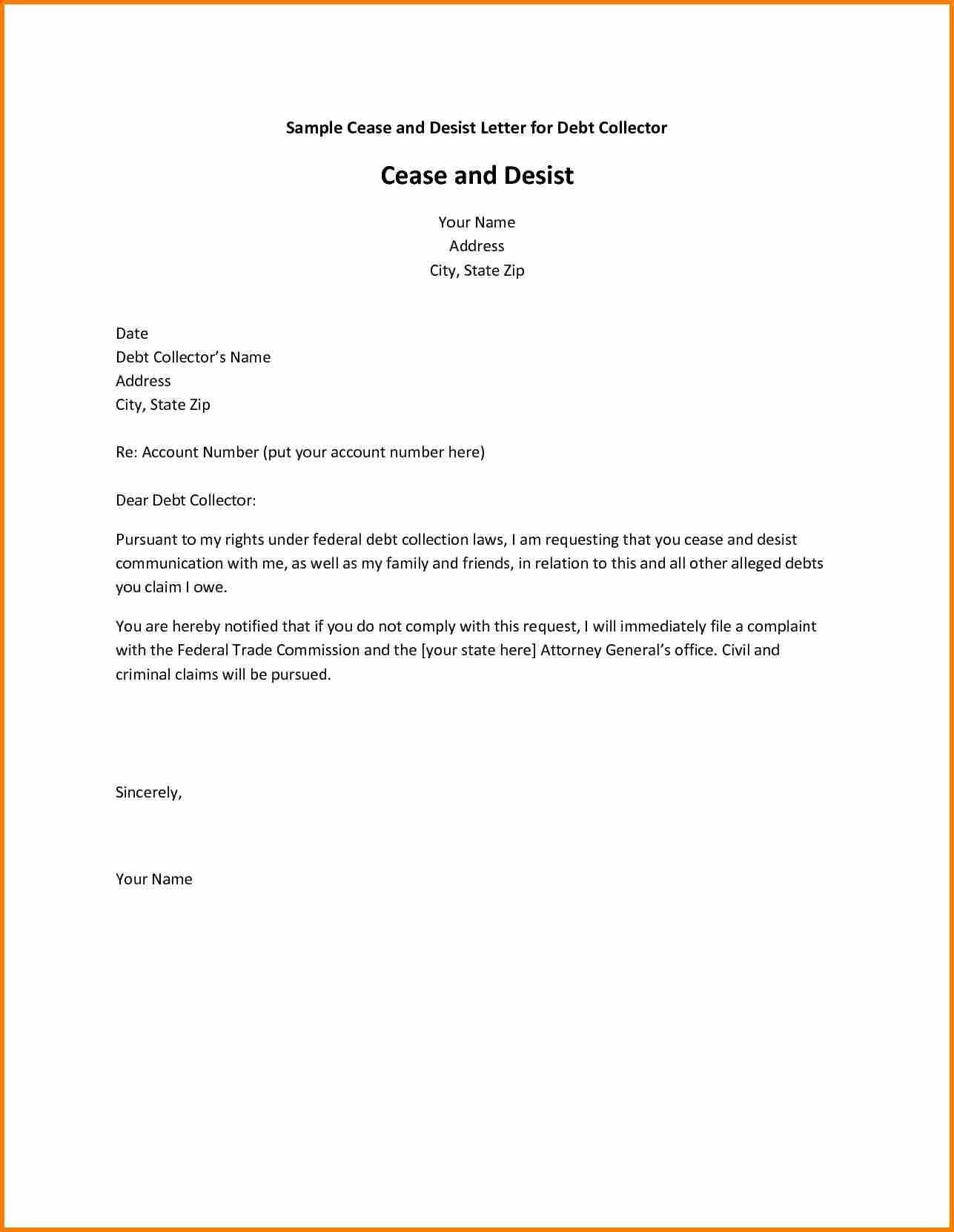 Cease and Desist Letter Template for Debt Collectors - Debt Collection Letter Sample Inspirational Debt Collection Cease
