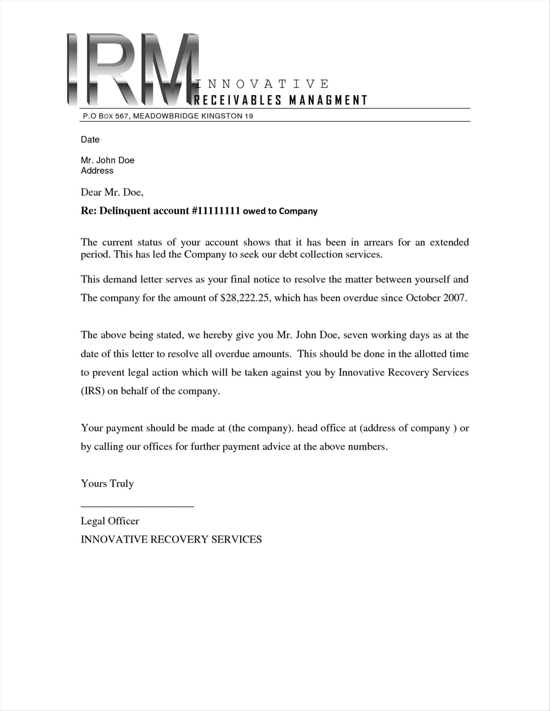 Cease and Desist Letter Template for Debt Collectors - Debt Collectors Letter Template